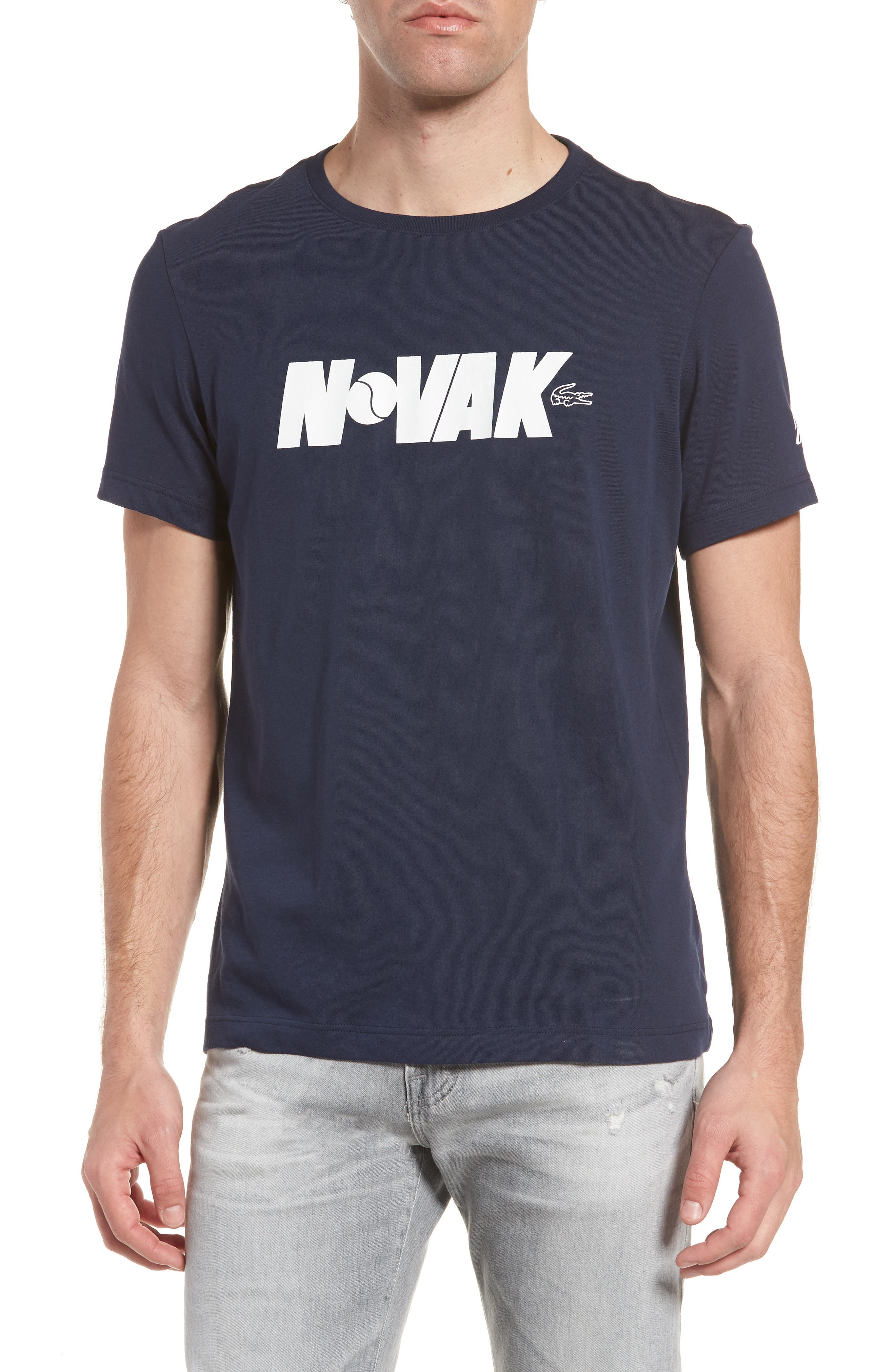Sport Novak Djokovic Crewneck Tech Jersey T-Shirt,                         Main,                         color, Navy Blue/ White