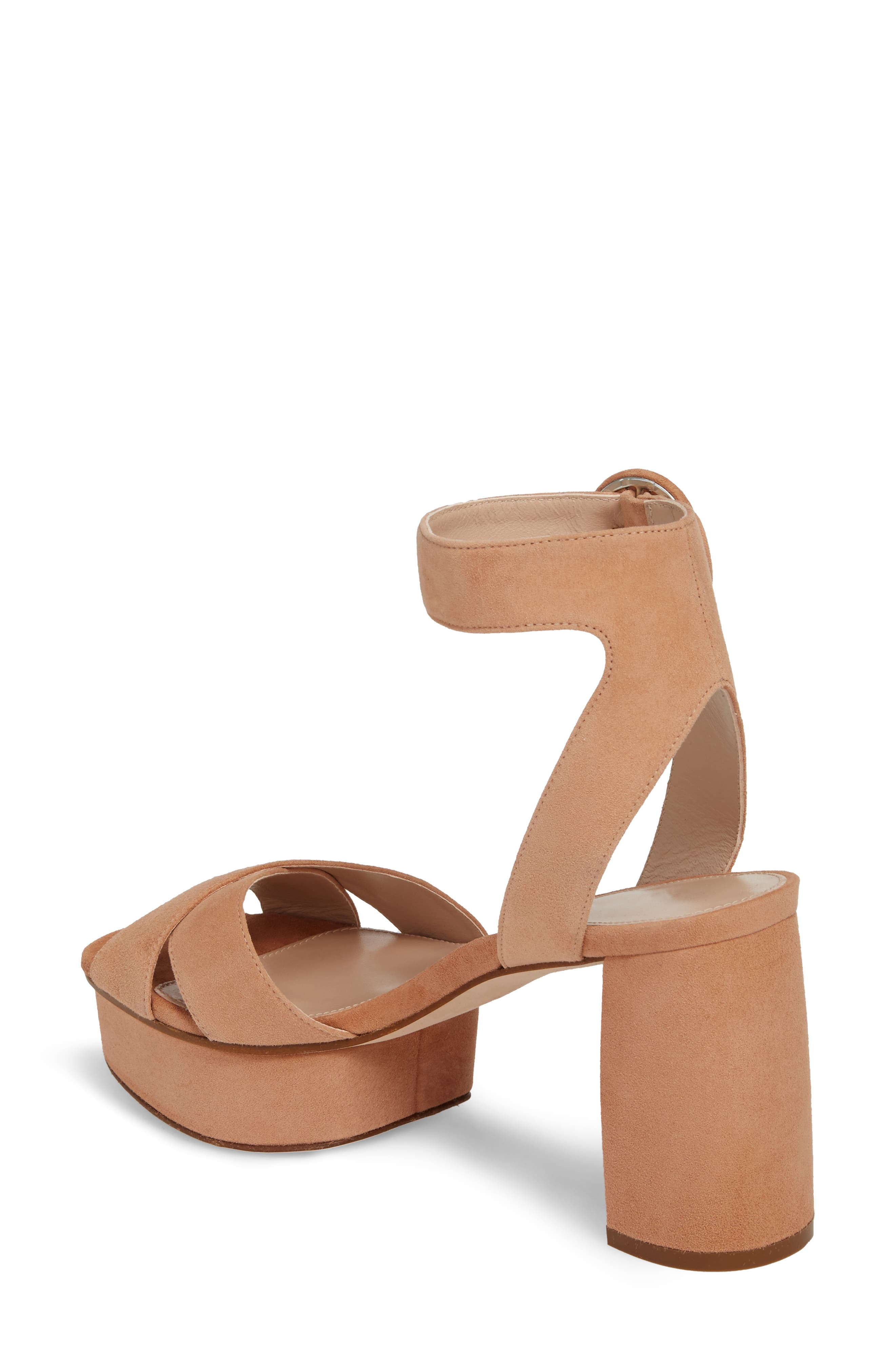 Carmina Ankle Strap Platform Sandal,                             Alternate thumbnail 2, color,                             Naked Seda Suede