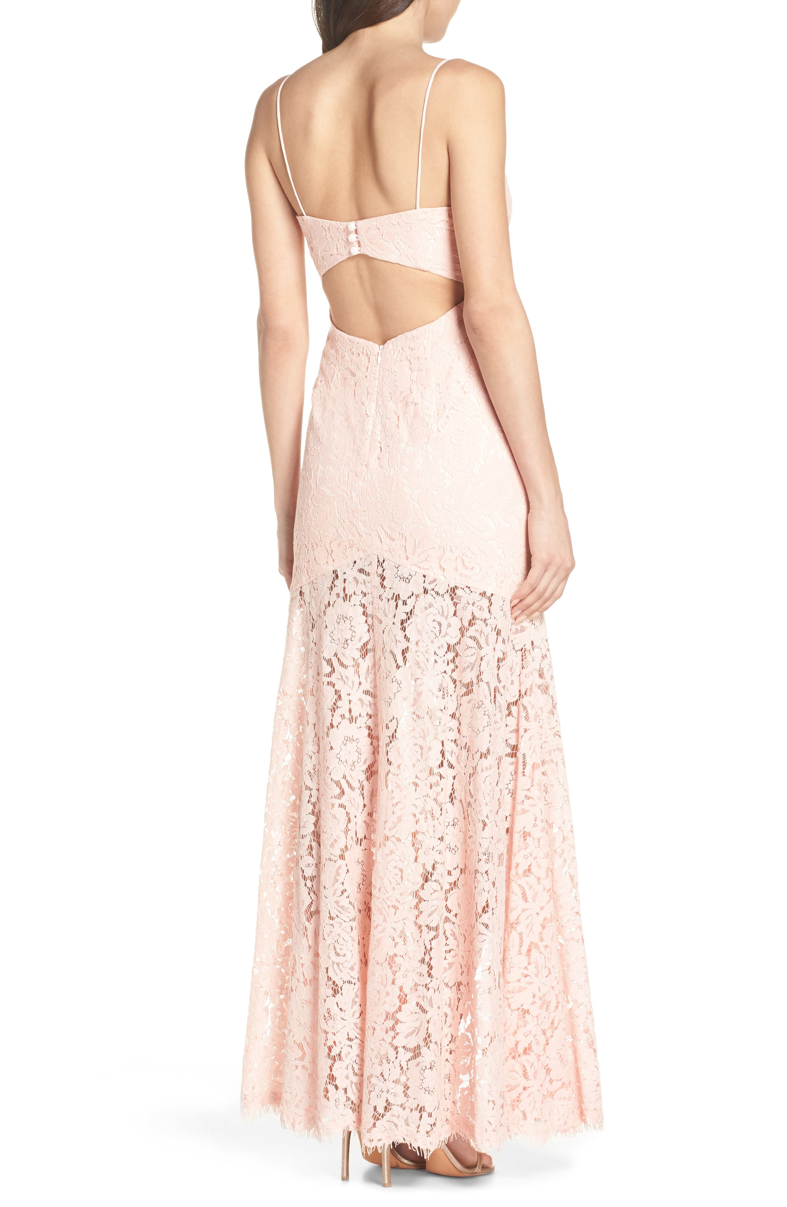 Babe Lace Gown,                             Alternate thumbnail 2, color,                             Pale Pink