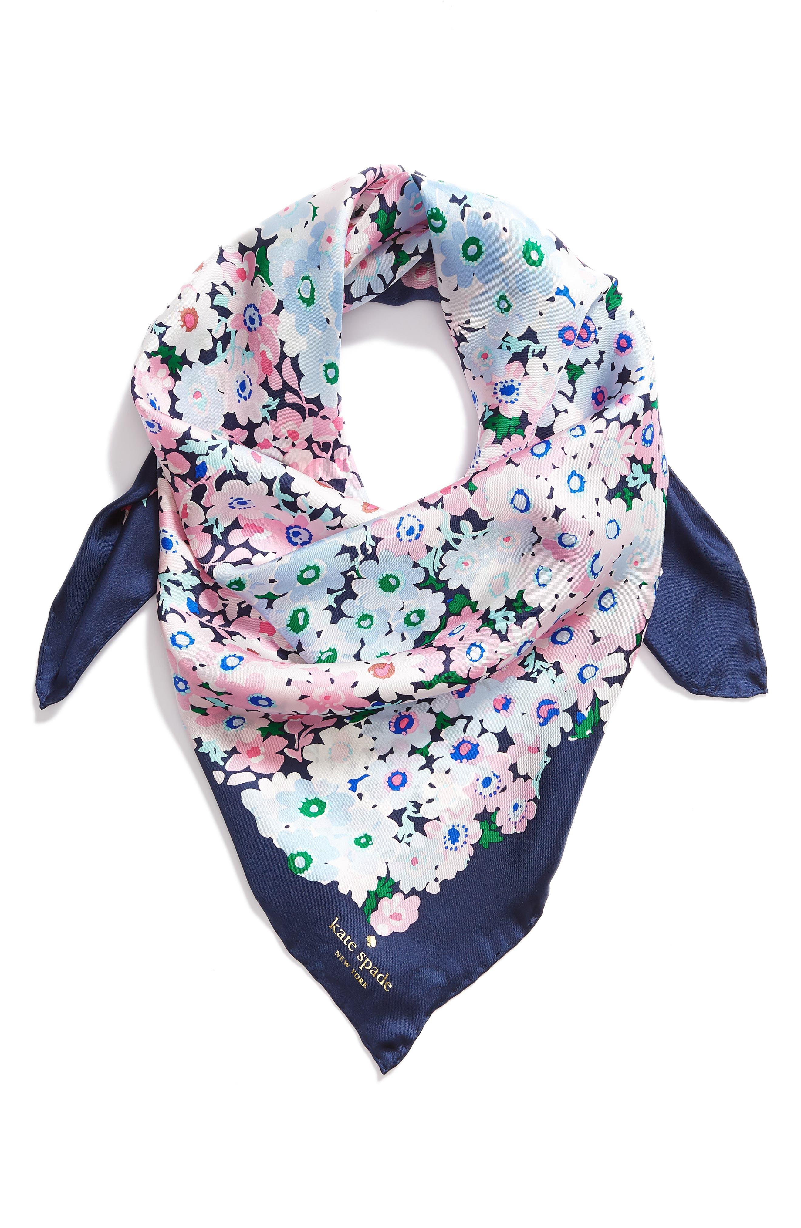 daisy garden square silk scarf,                             Alternate thumbnail 2, color,                             Navy