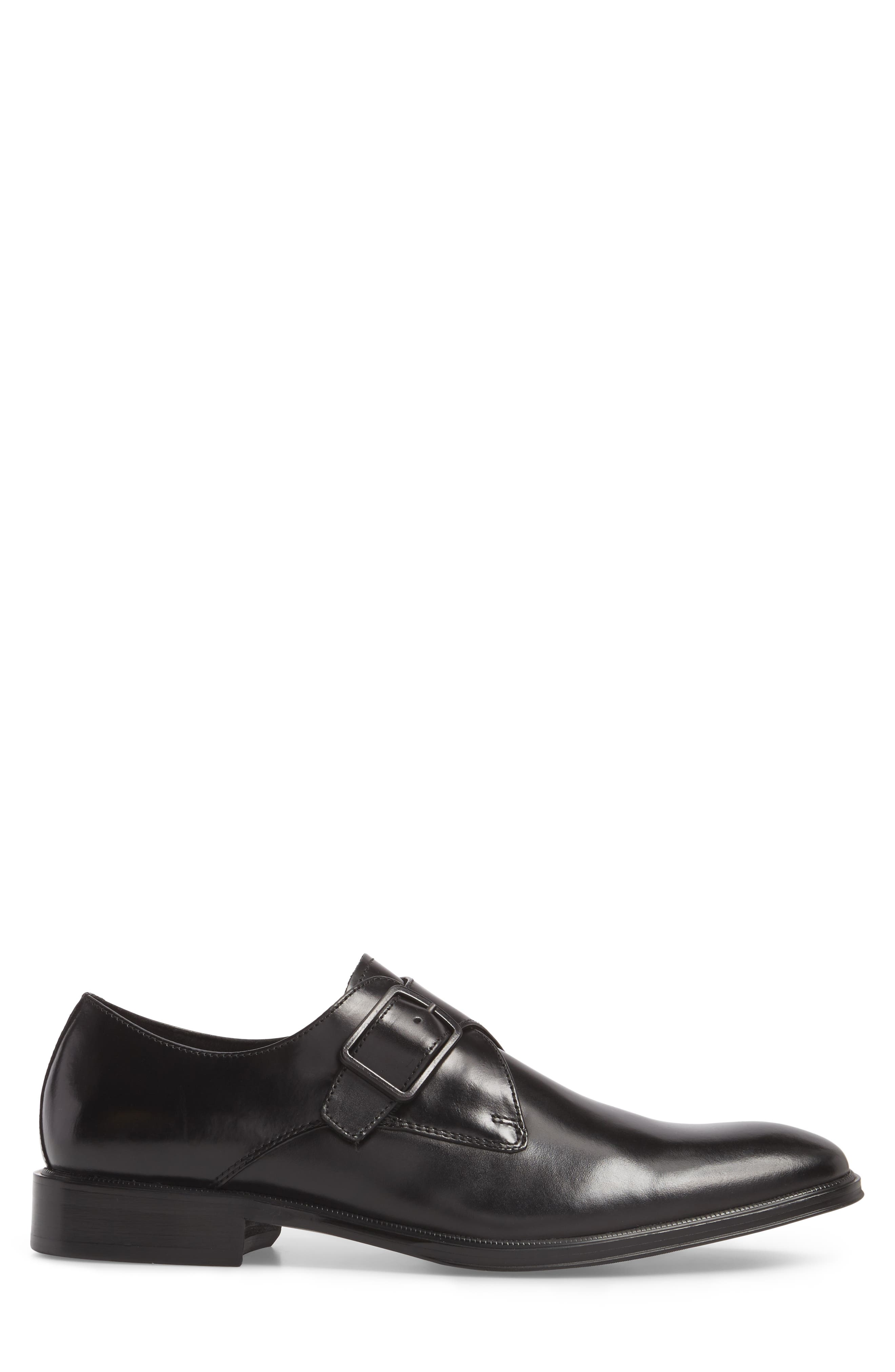 Tully Single Buckle Monk Shoe,                             Alternate thumbnail 3, color,                             Black Leather