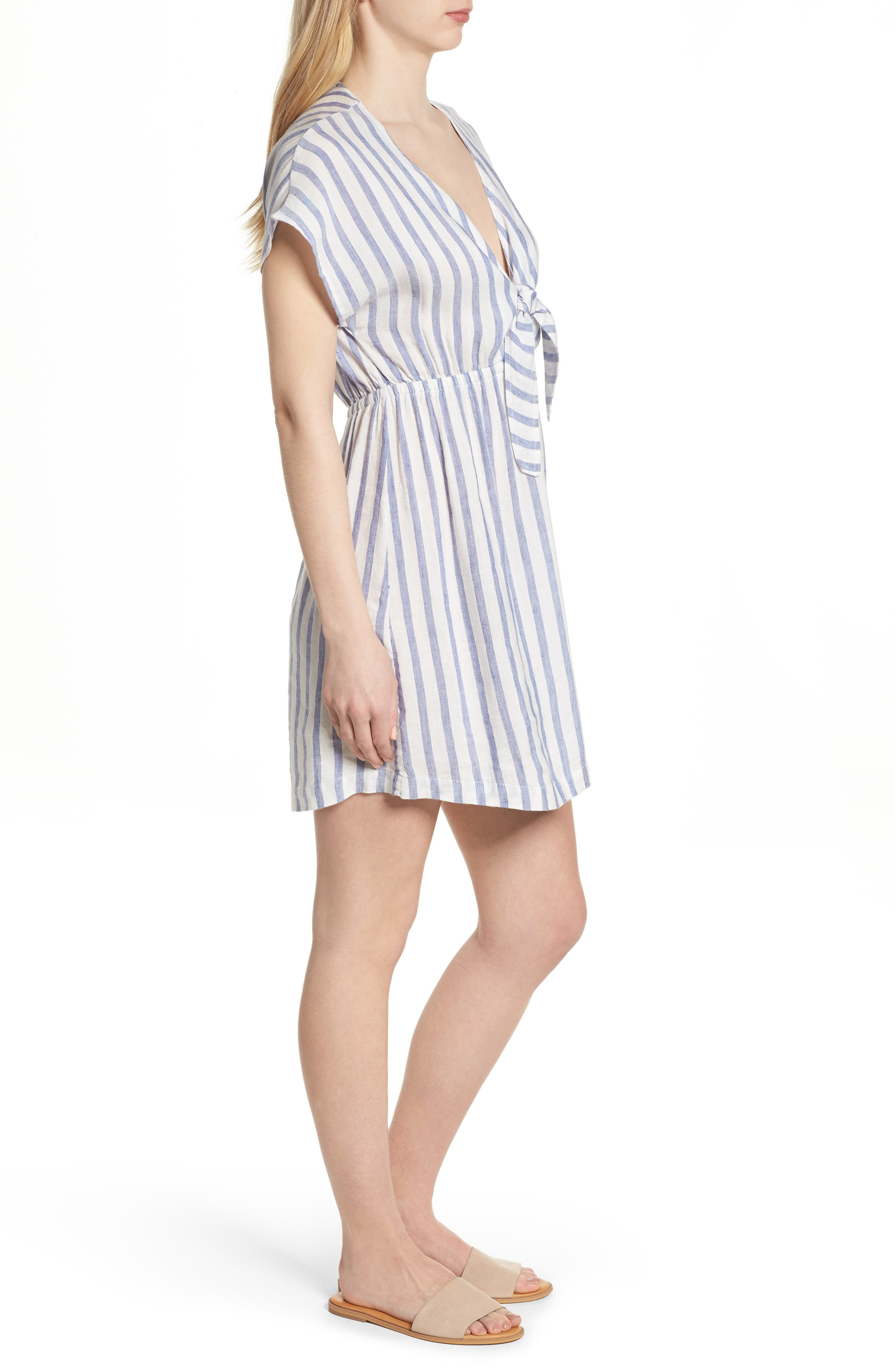 Stripe Tie Front Dress,                             Alternate thumbnail 3, color,                             Grenadines Stripe