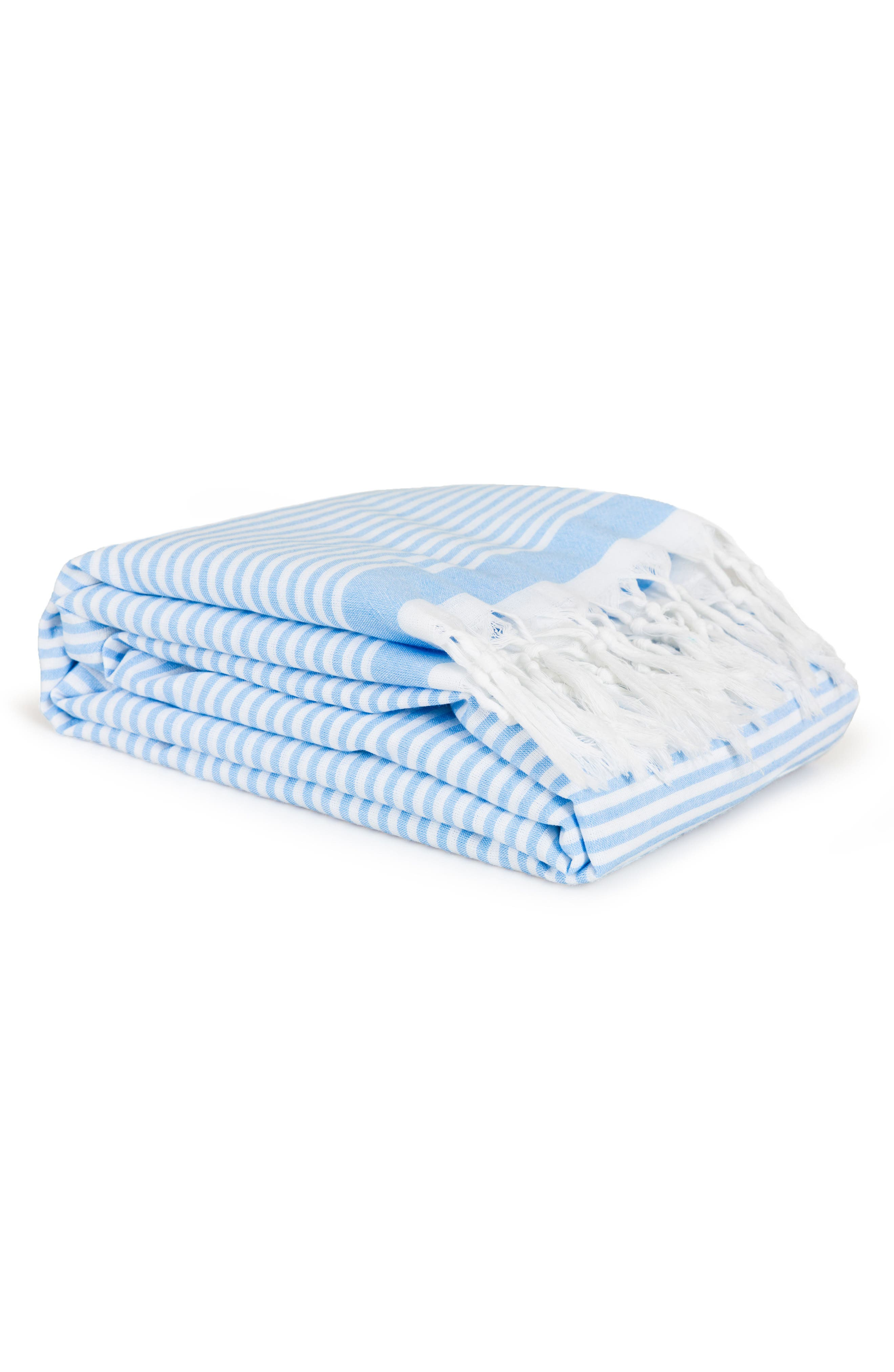 Soft Stripes Turkish Pestemal Towel,                             Alternate thumbnail 4, color,                             Sky Blue