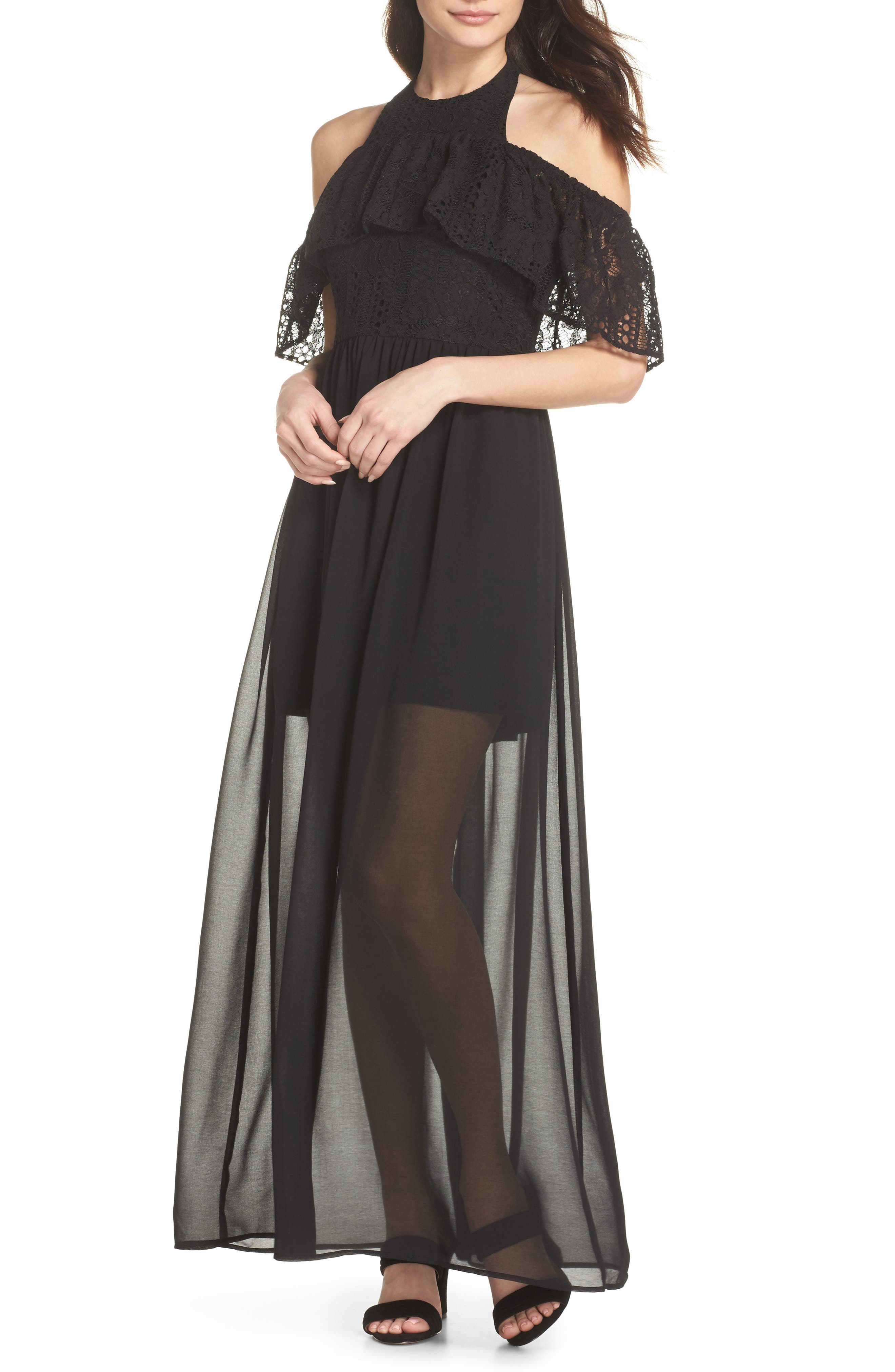One Hand One Heart Cold Shoulder Maxi Dress,                             Main thumbnail 1, color,                             Black
