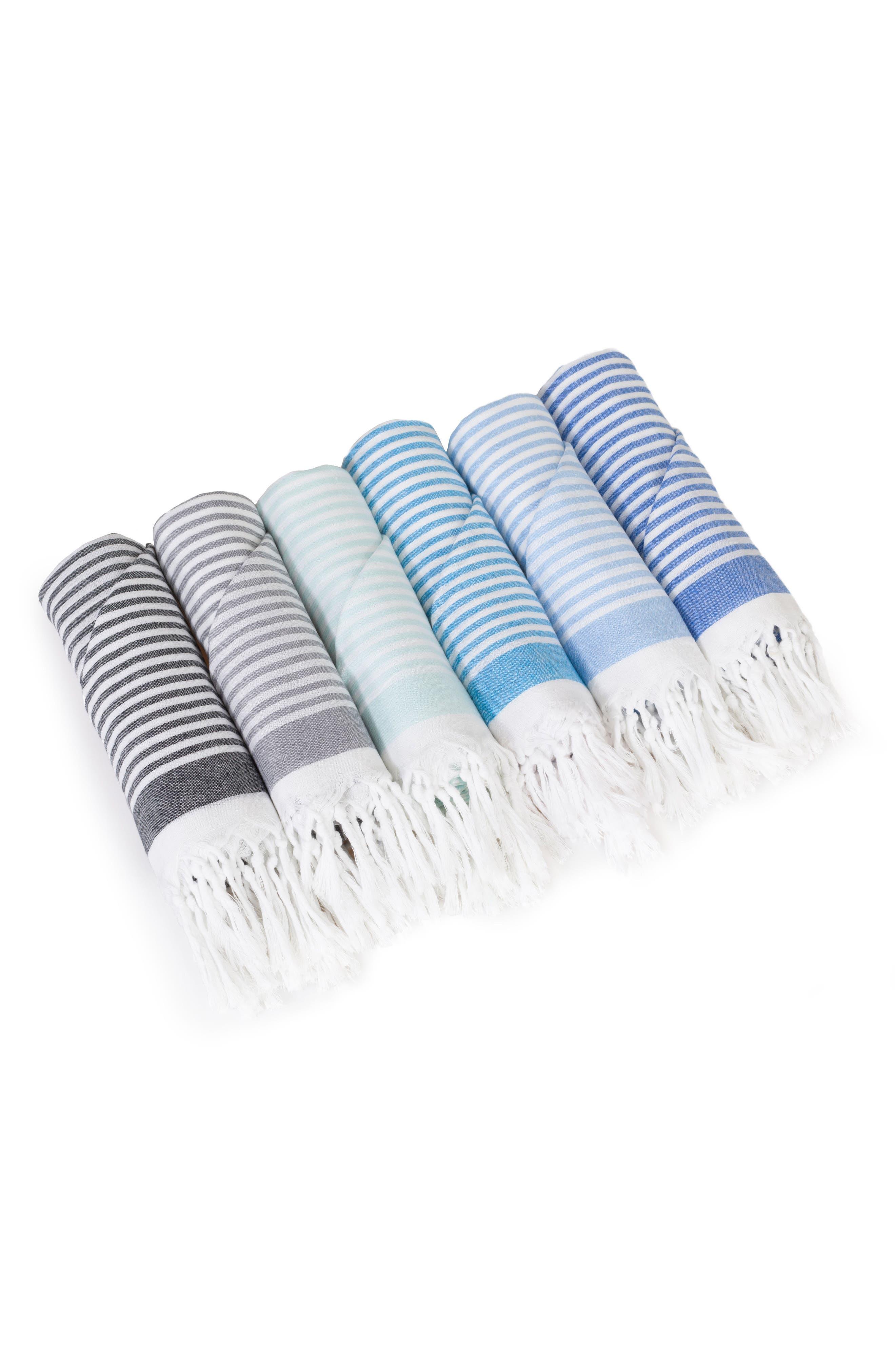 Soft Stripes Turkish Pestemal Towel,                             Alternate thumbnail 5, color,                             Sky Blue