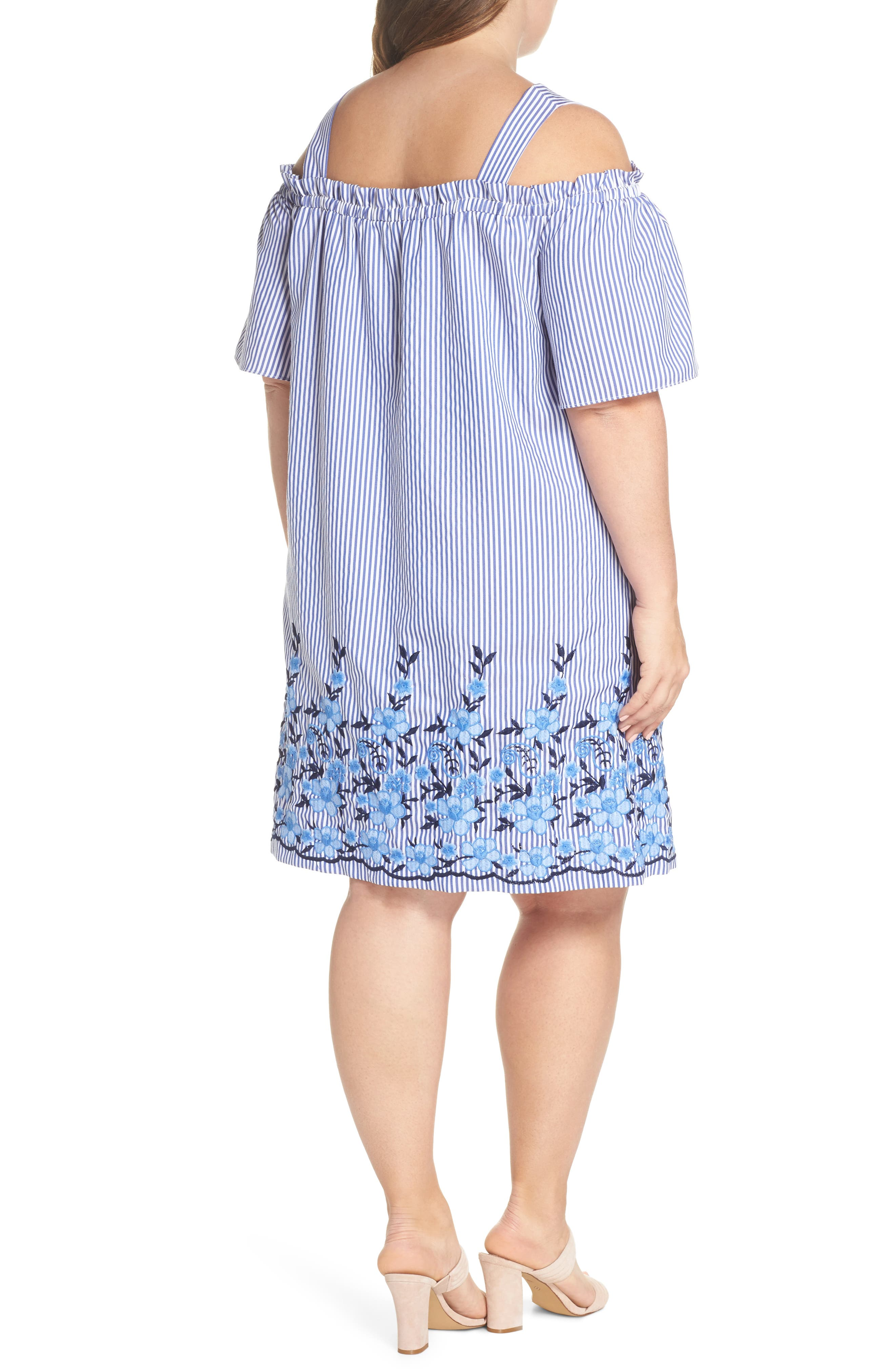 Embroidered Hem Stripe Off the Shoulder Shift Dress,                             Alternate thumbnail 2, color,                             Blue/ White