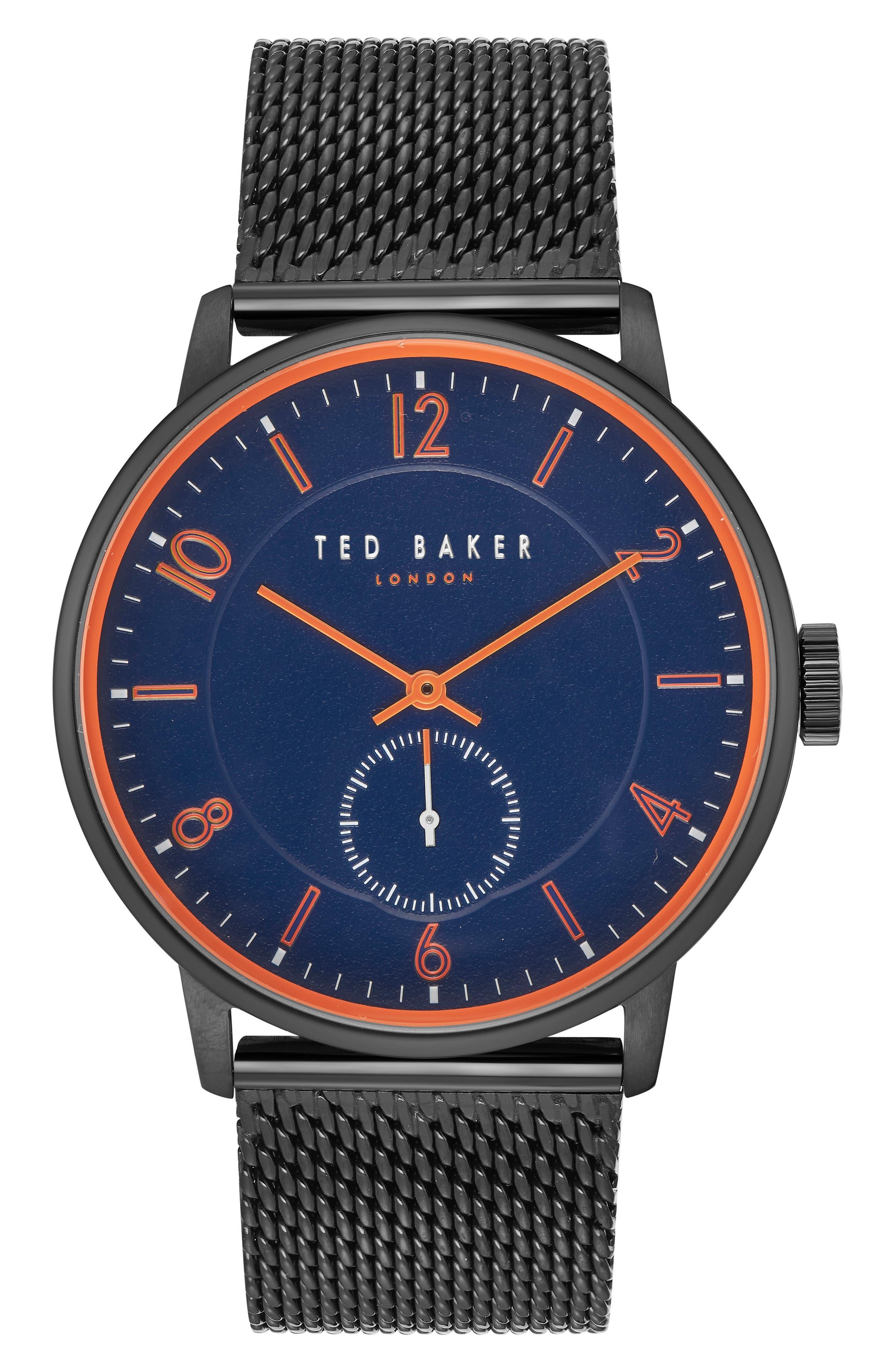 Owen Mesh Strap Watch, 42mm,                         Main,                         color, Dark Blue/ Black