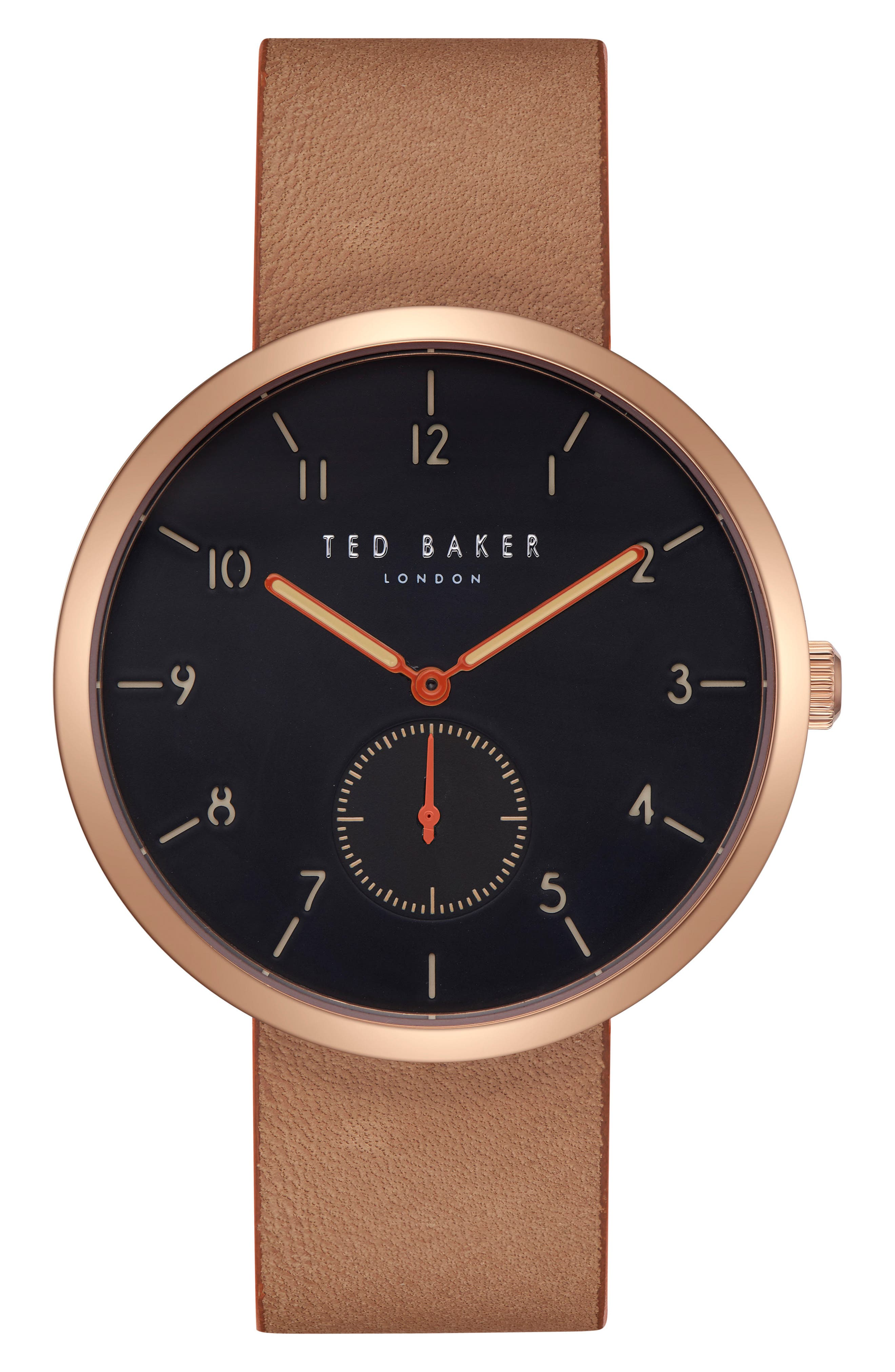 Josh Leather Strap Watch, 42mm,                         Main,                         color, Black/ Brown