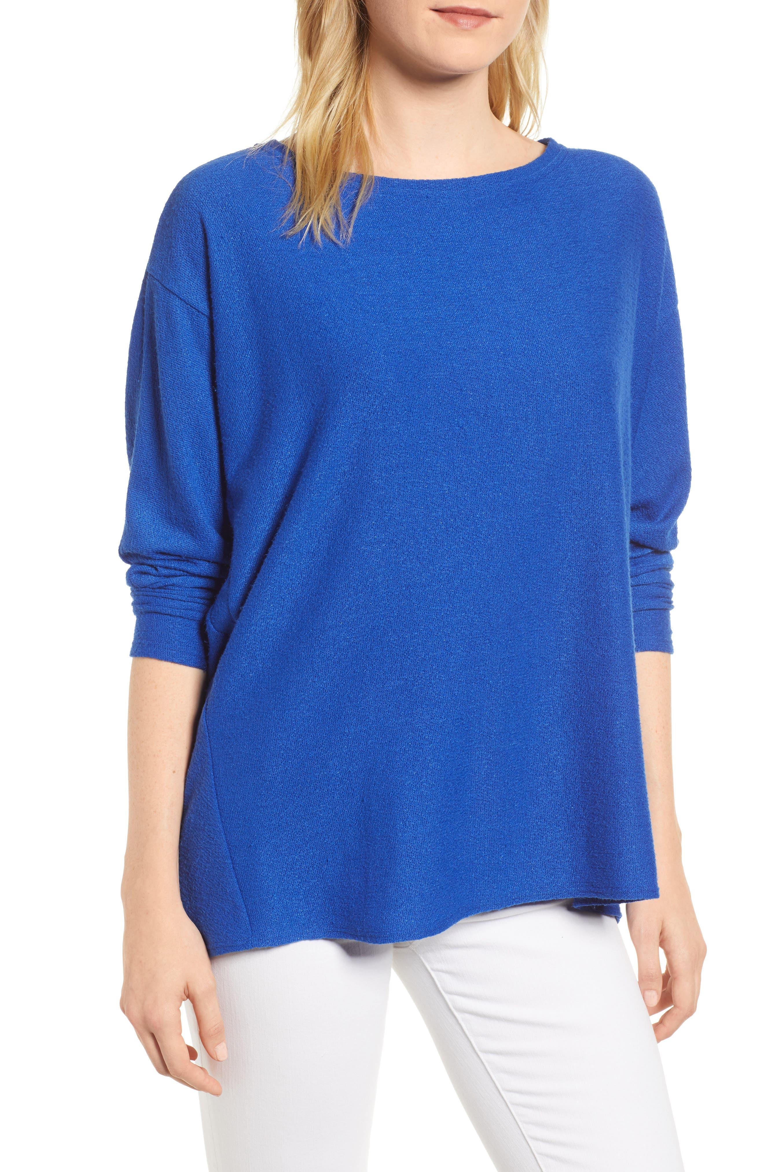 Stripe Split Back Top,                         Main,                         color, Solid Royal Blue