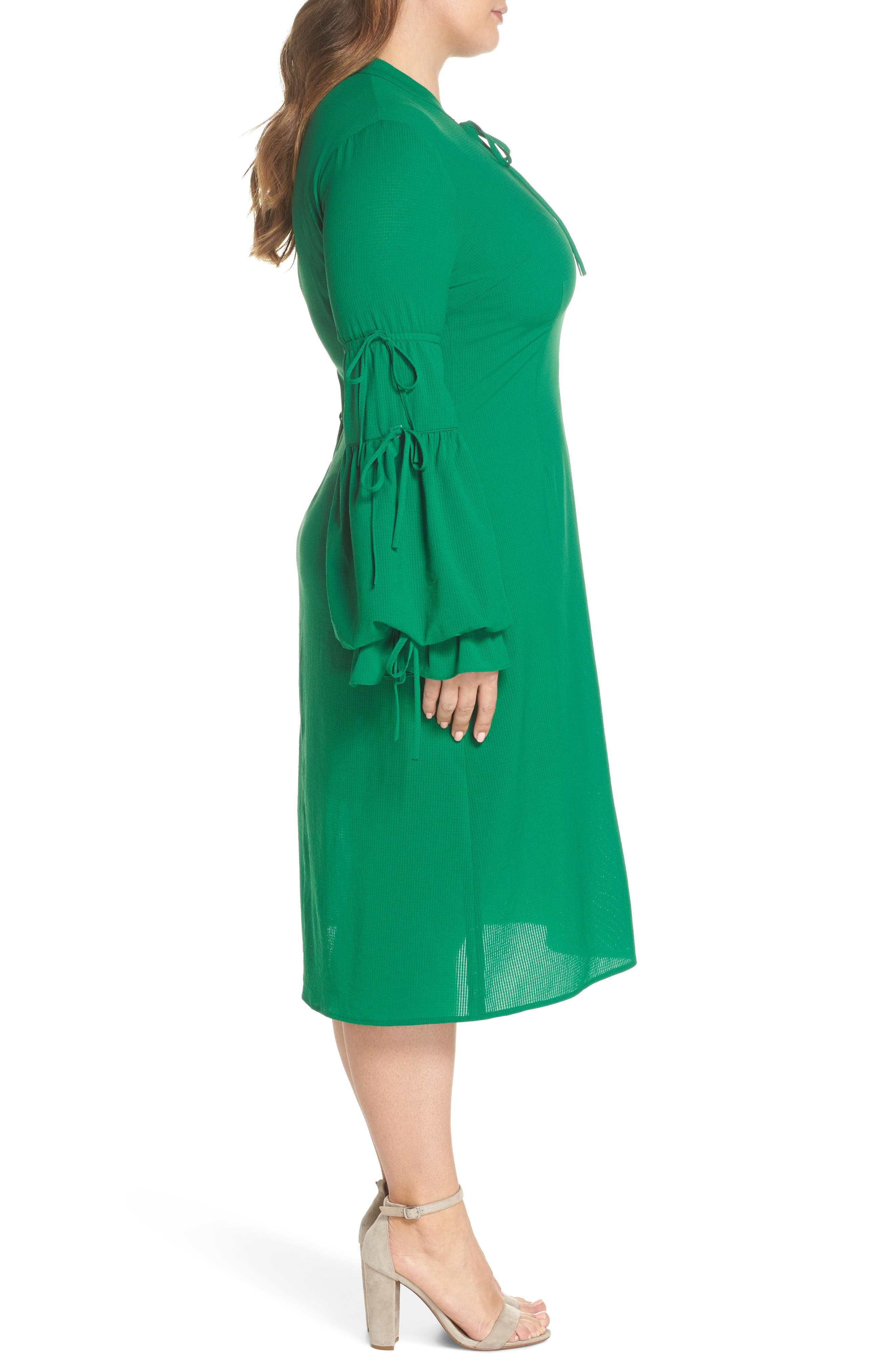 Leiko Antoinette Puff Sleeve Tea Dress,                             Alternate thumbnail 4, color,                             Green