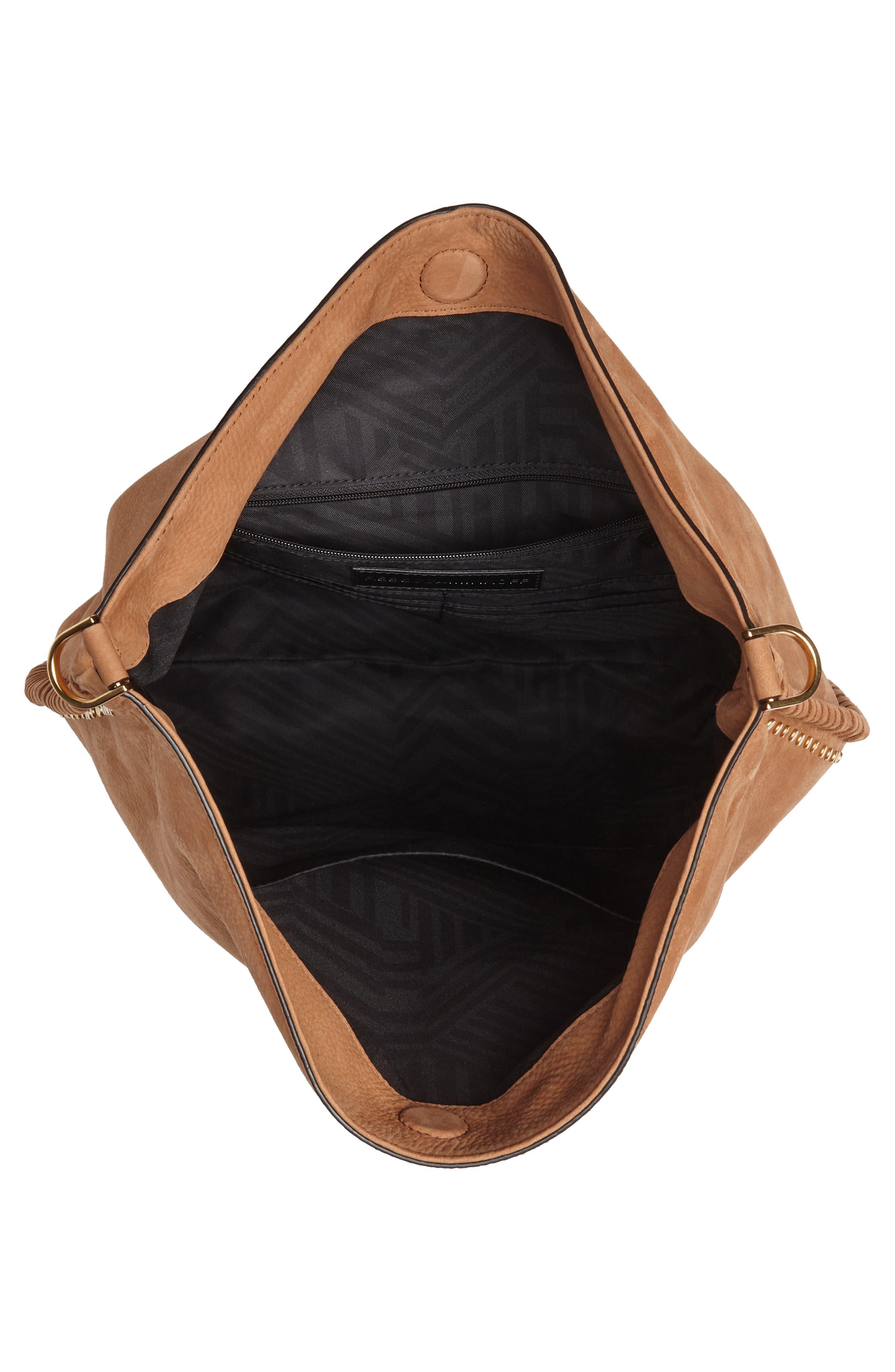 Slim Regan Leather Hobo,                             Alternate thumbnail 5, color,                             Almond
