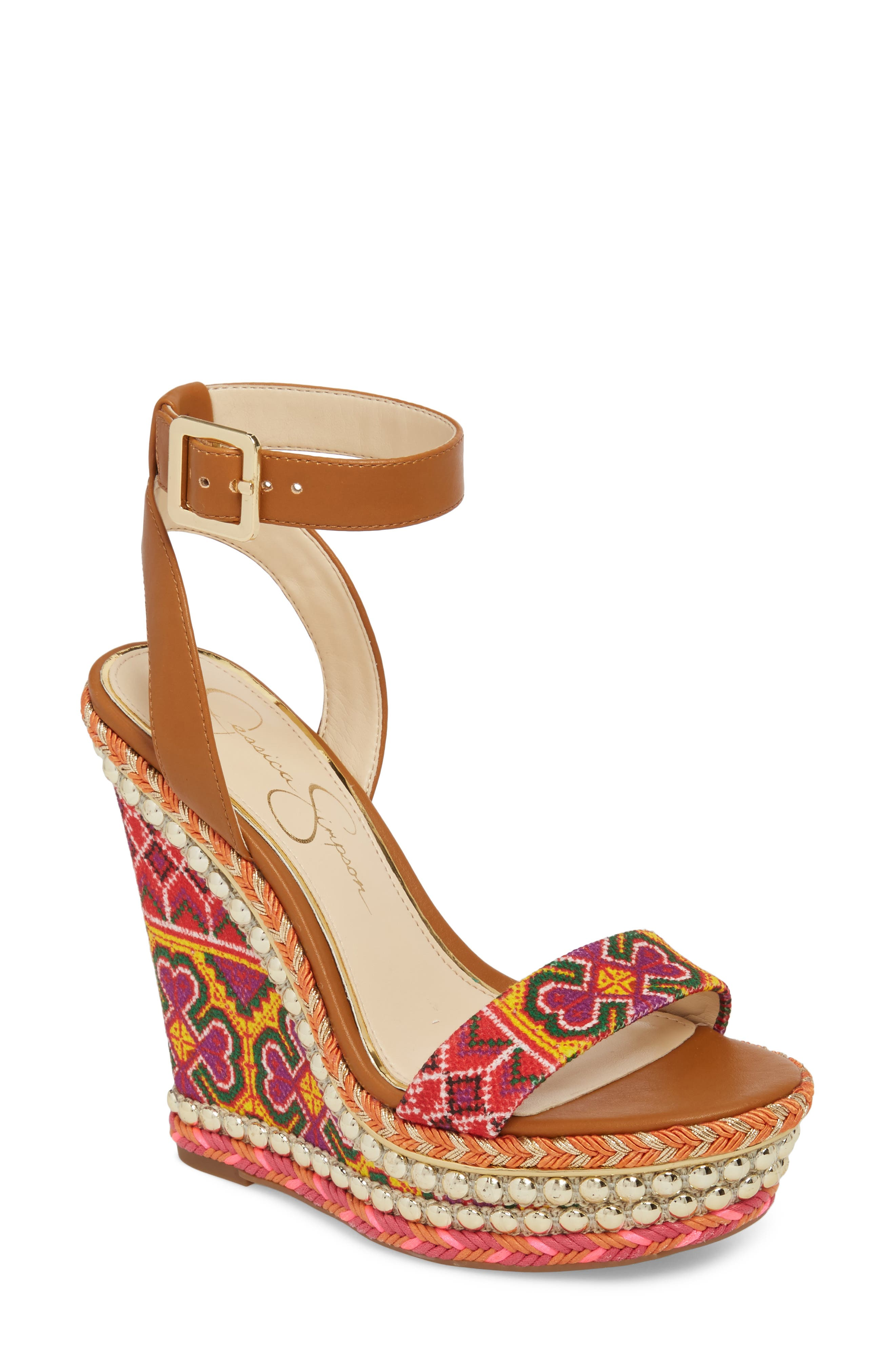 Alinda Embellished Wedge Sandal,                         Main,                         color, Red Multi