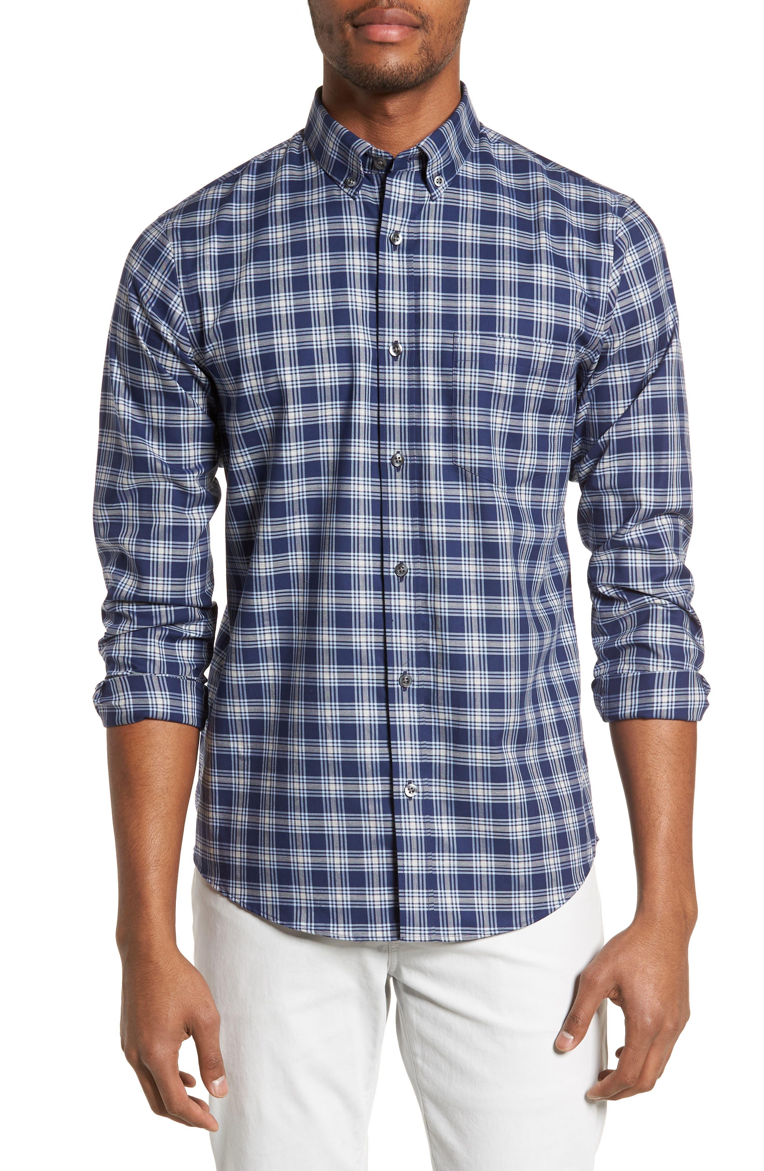 Non-Iron Spade Plaid Sport Shirt,                         Main,                         color, Navy Iris Blue Plaid