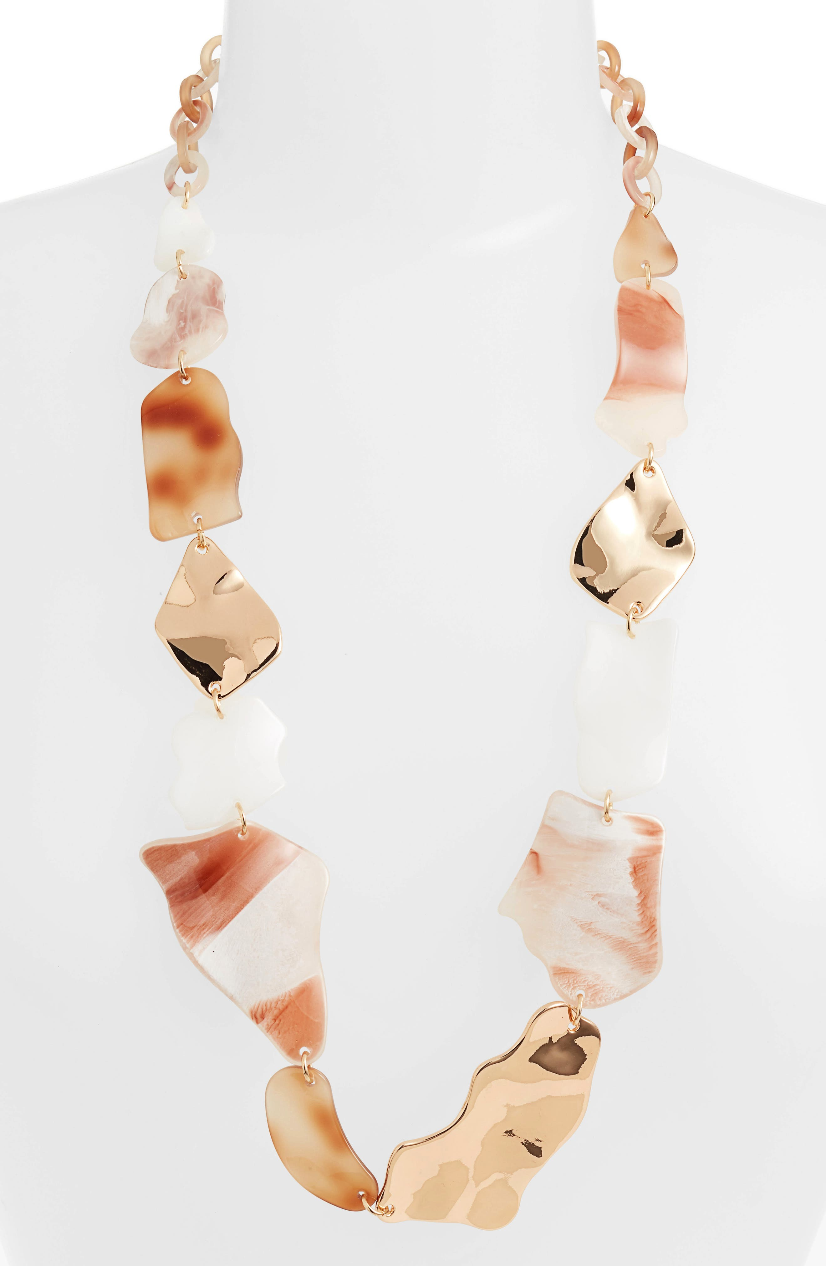 Stella + Ruby Mixed Shape Long Link Necklace