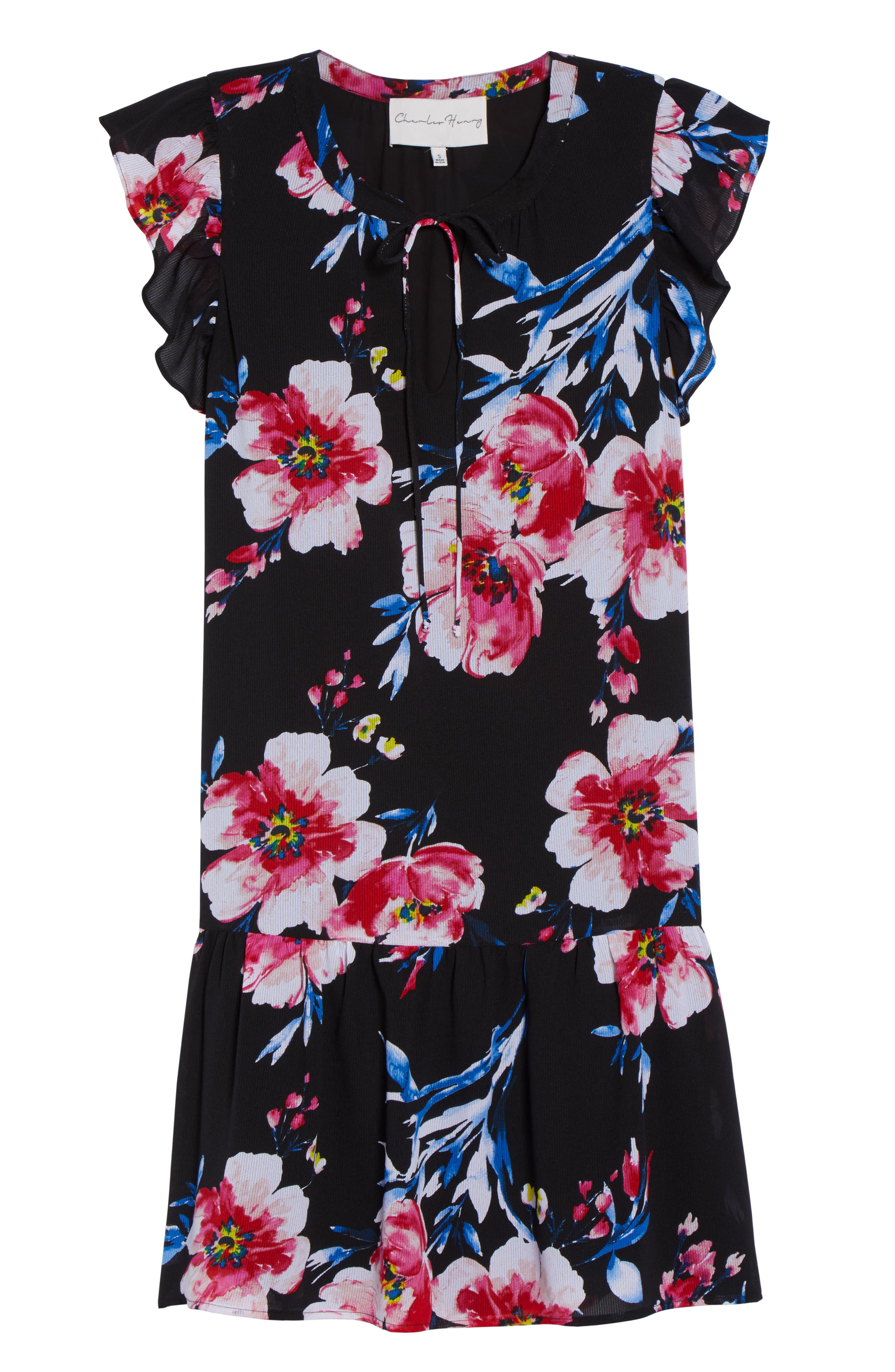 Tie Neck Ruffle Hem Dress,                             Alternate thumbnail 7, color,                             Black/ Fuchsia/ Blue