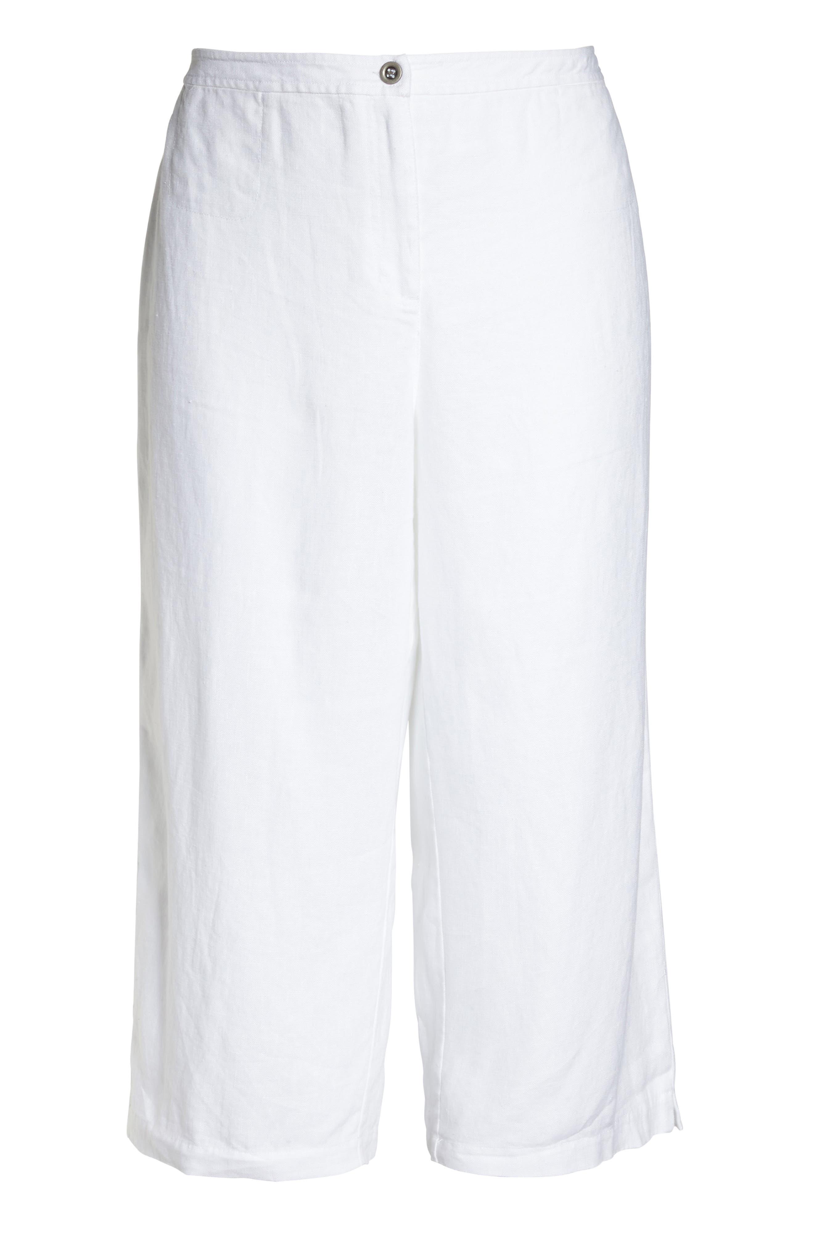Wide Leg Crop Pants,                             Alternate thumbnail 7, color,                             White