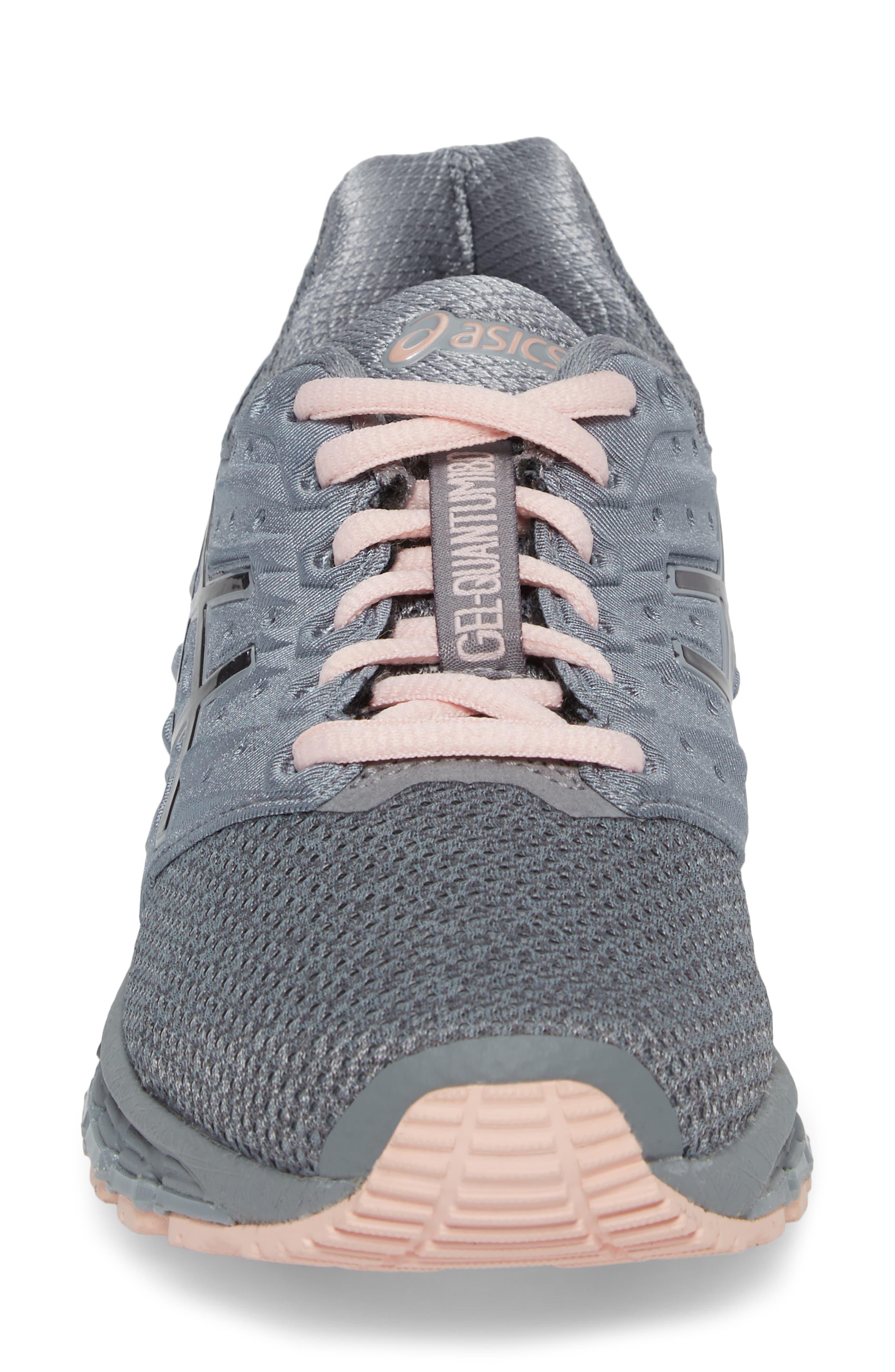 'GEL-Quantum 180 2' Running Shoe,                             Alternate thumbnail 4, color,                             Stone Grey/ Carbon/ Pink