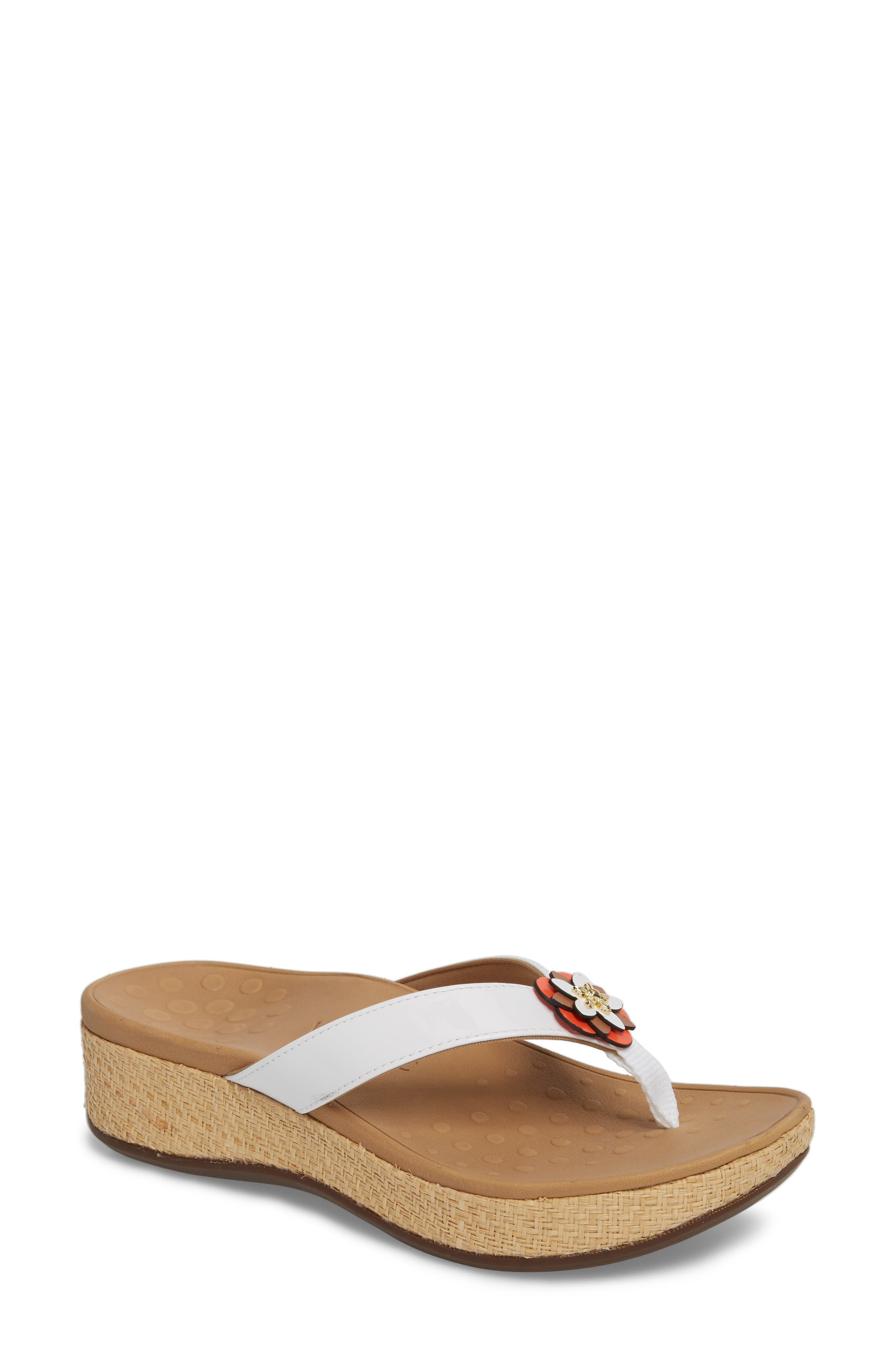 Mimi Wedge Flip Flop,                         Main,                         color, White Leather