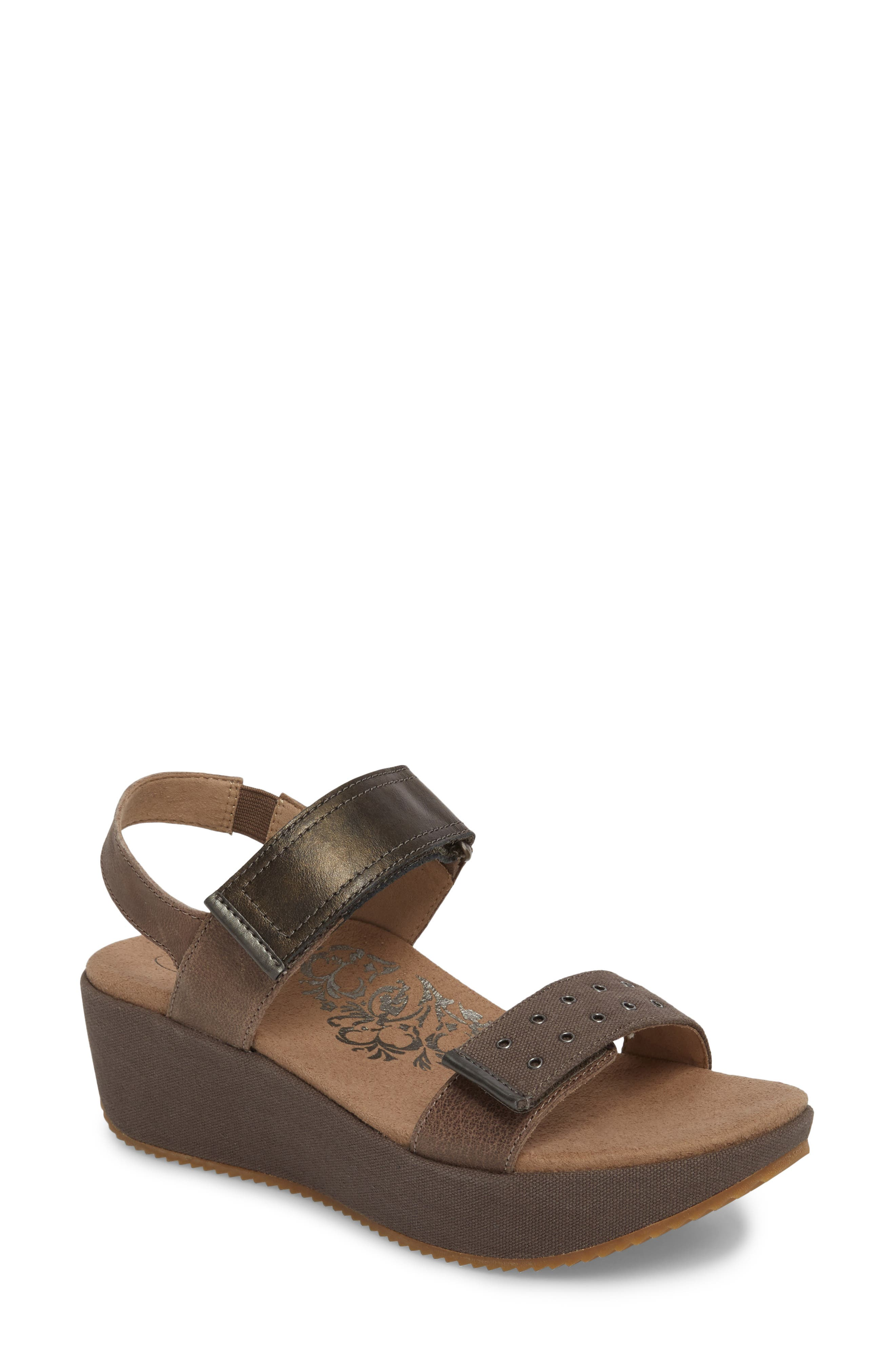 Tiffany Wedge Sandal,                         Main,                         color, Stone Leather