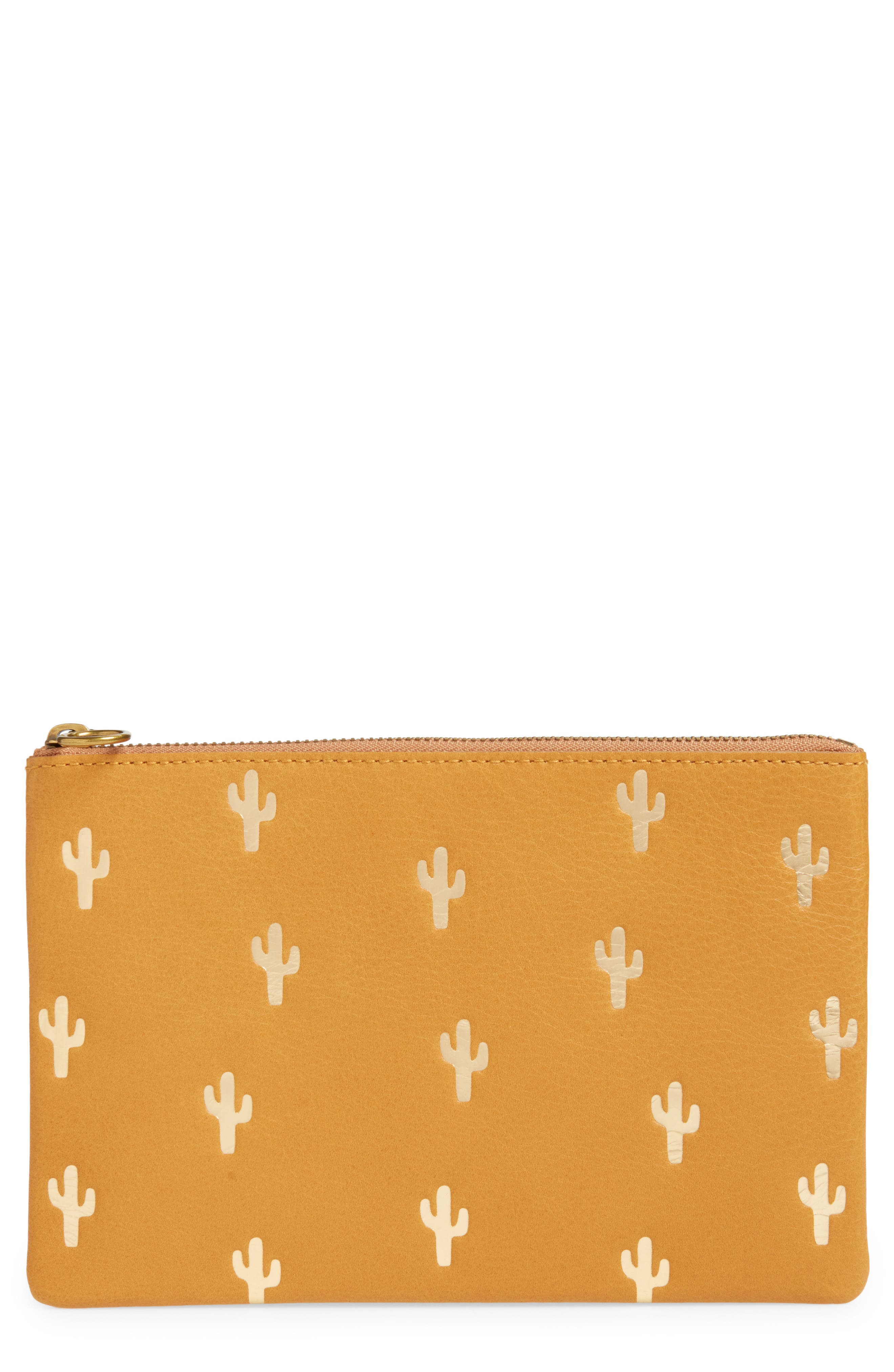 Madewell The Leather Pouch Clutch: Embossed Cactus Edition