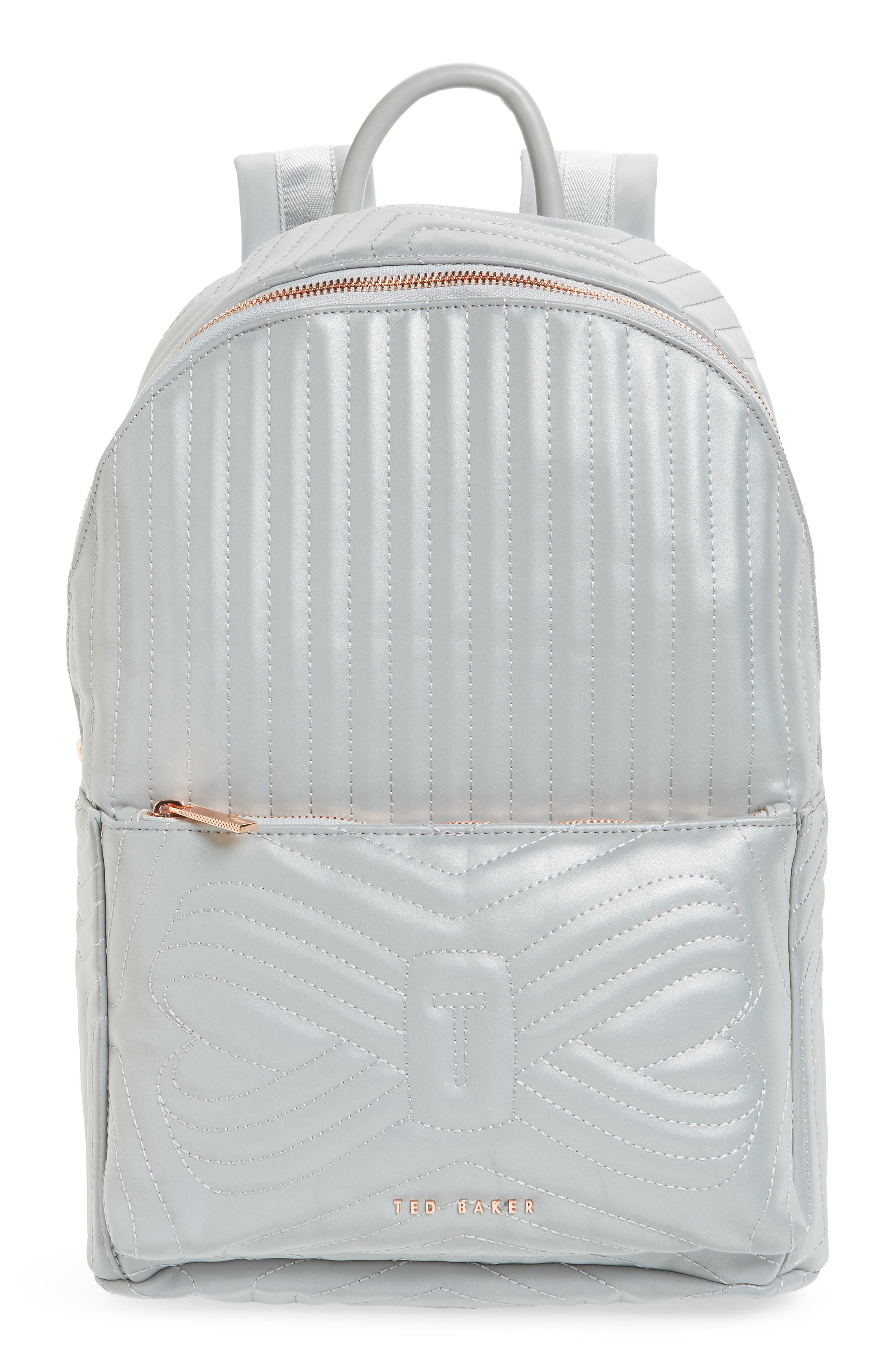 Ted Baker London Quilted Bow Reflective Faux Leather Backpack