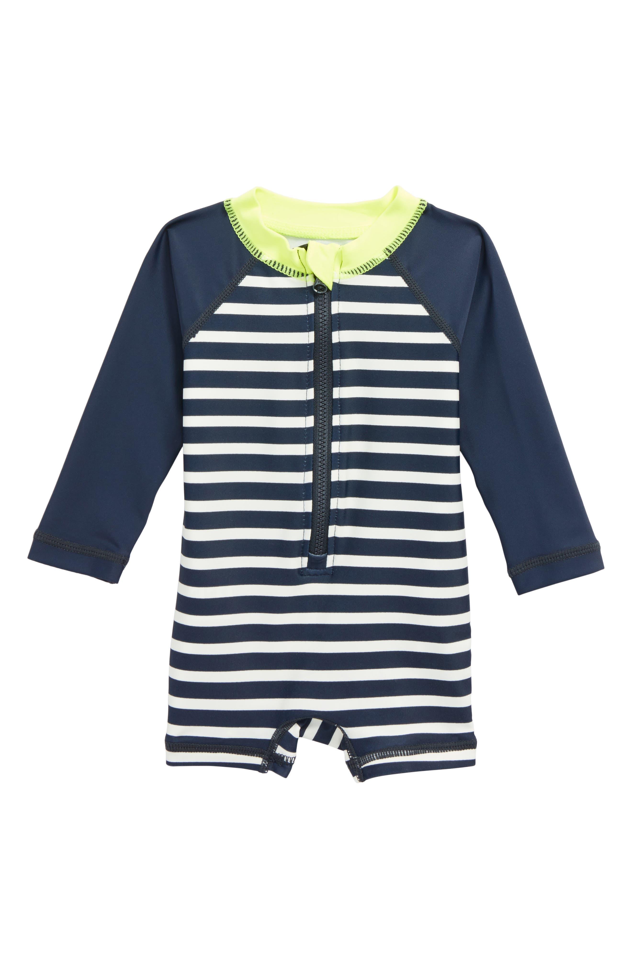 Stripe One-Piece Rashguard Swimsuit,                             Main thumbnail 1, color,                             Indigo 2-Color Stripe