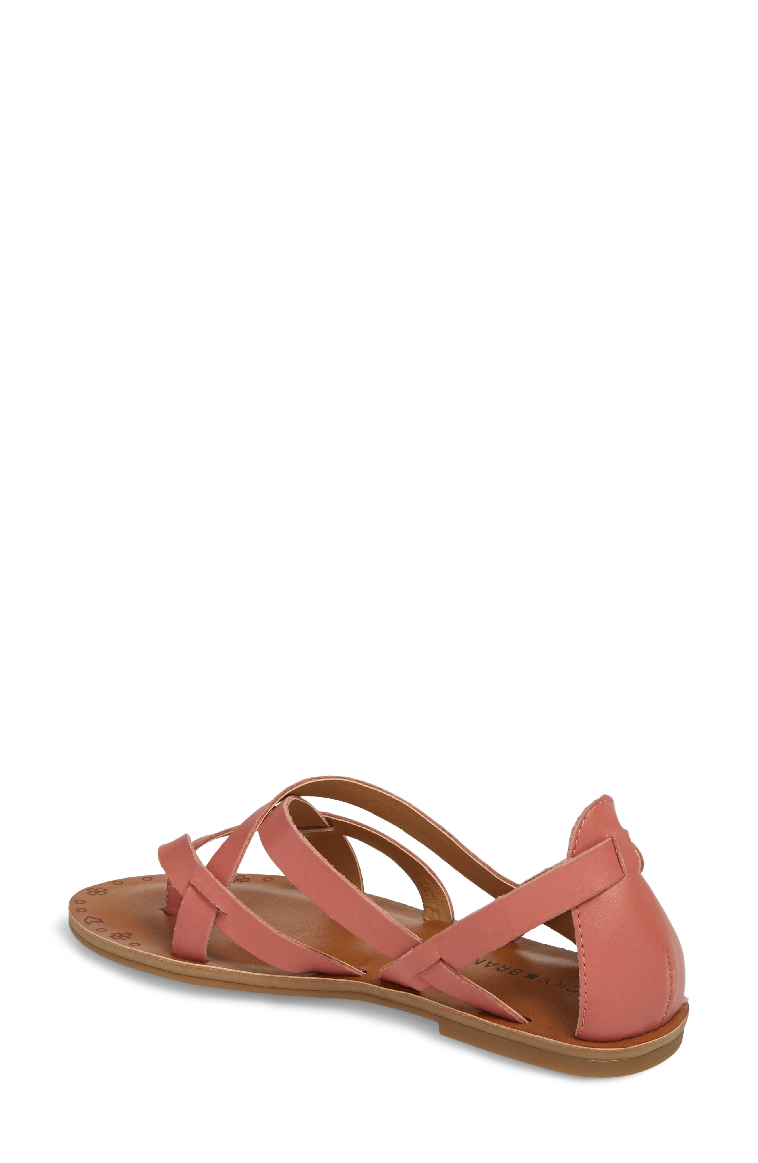Ainsley Flat Sandal,                             Alternate thumbnail 2, color,                             Canyon Rose Leather