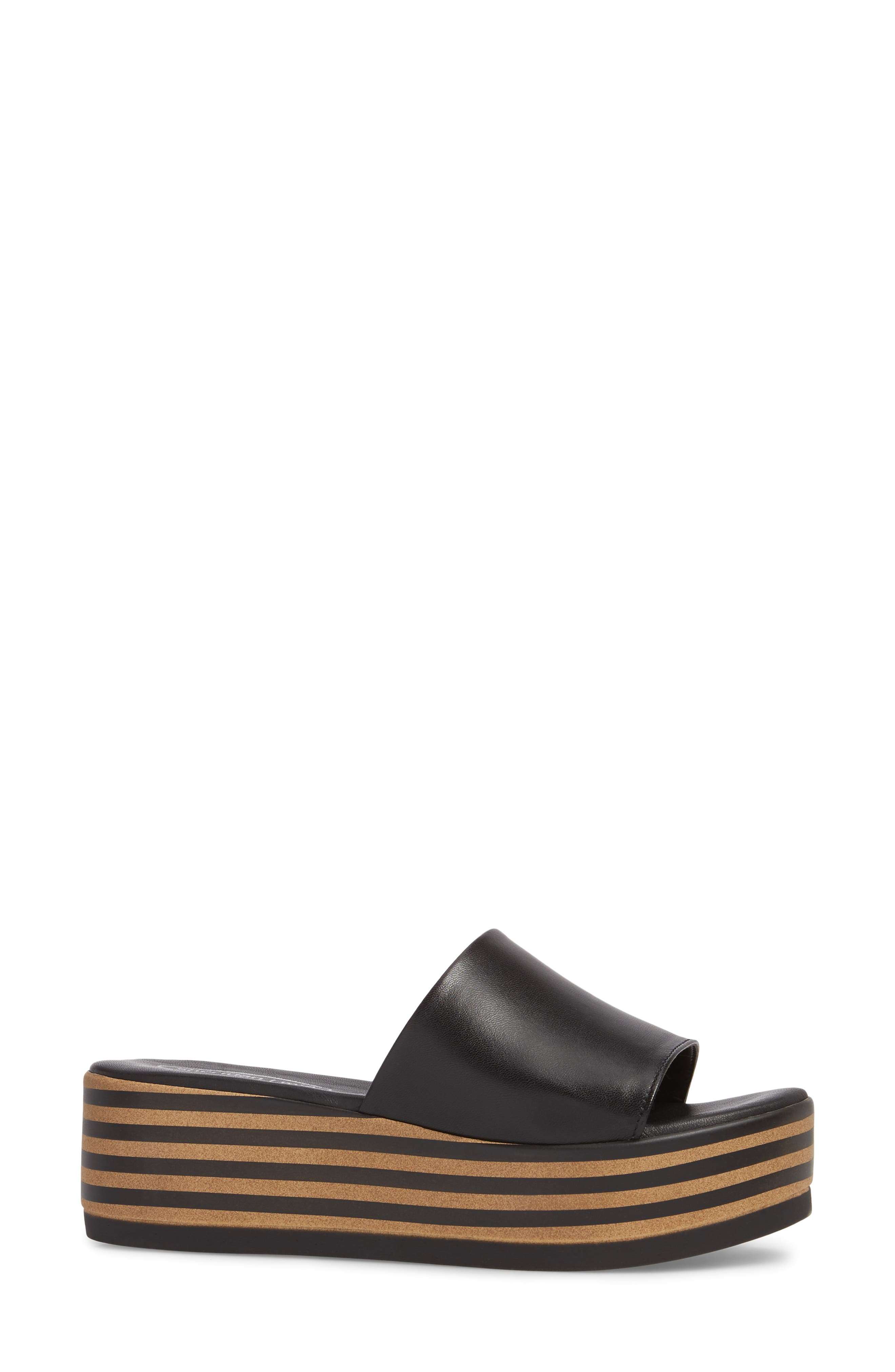 Reesa Platform Slide Sandal,                             Alternate thumbnail 3, color,                             Black Leather
