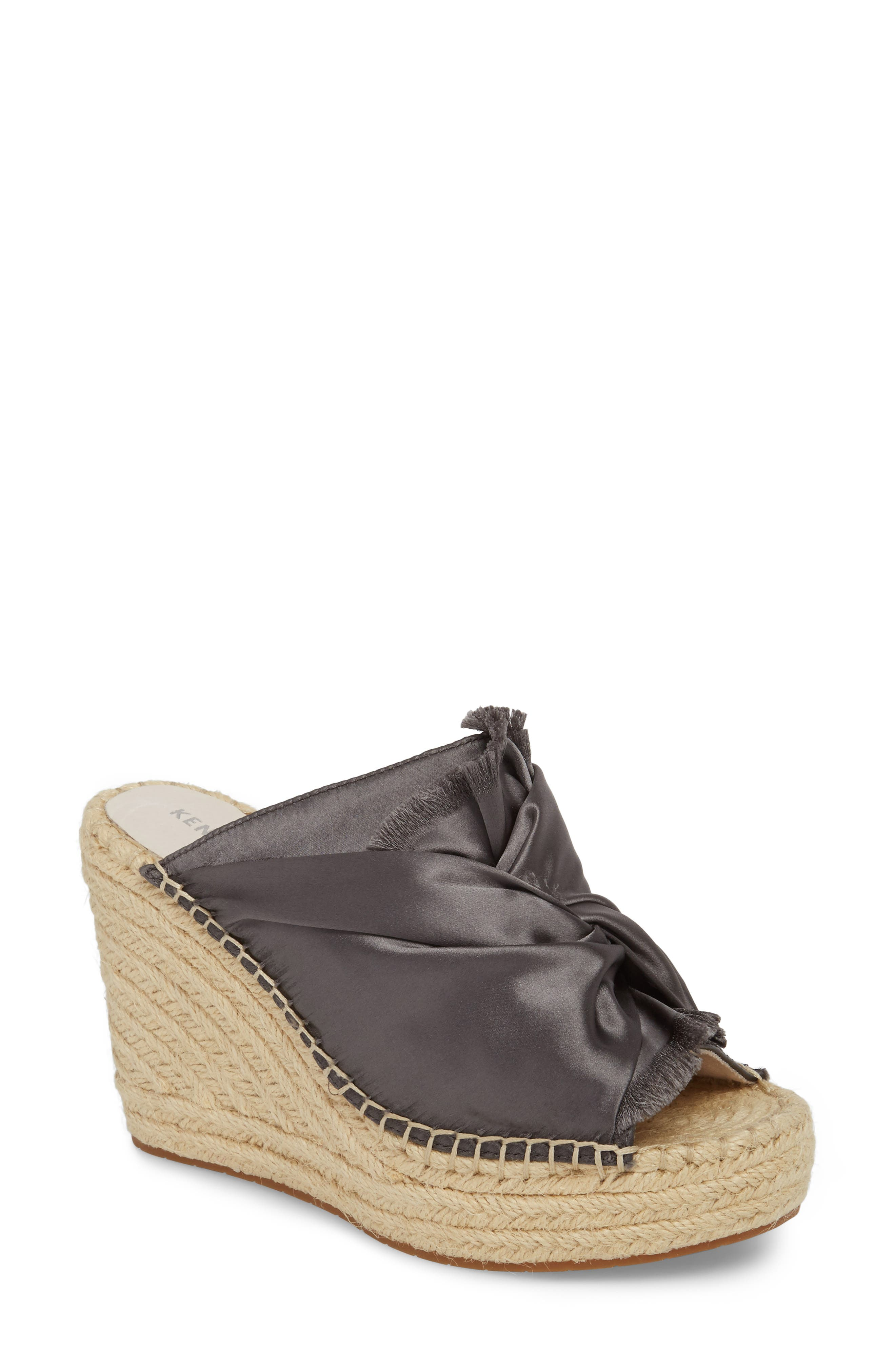 Odele Espadrille Wedge,                             Main thumbnail 1, color,                             Charcoal Satin