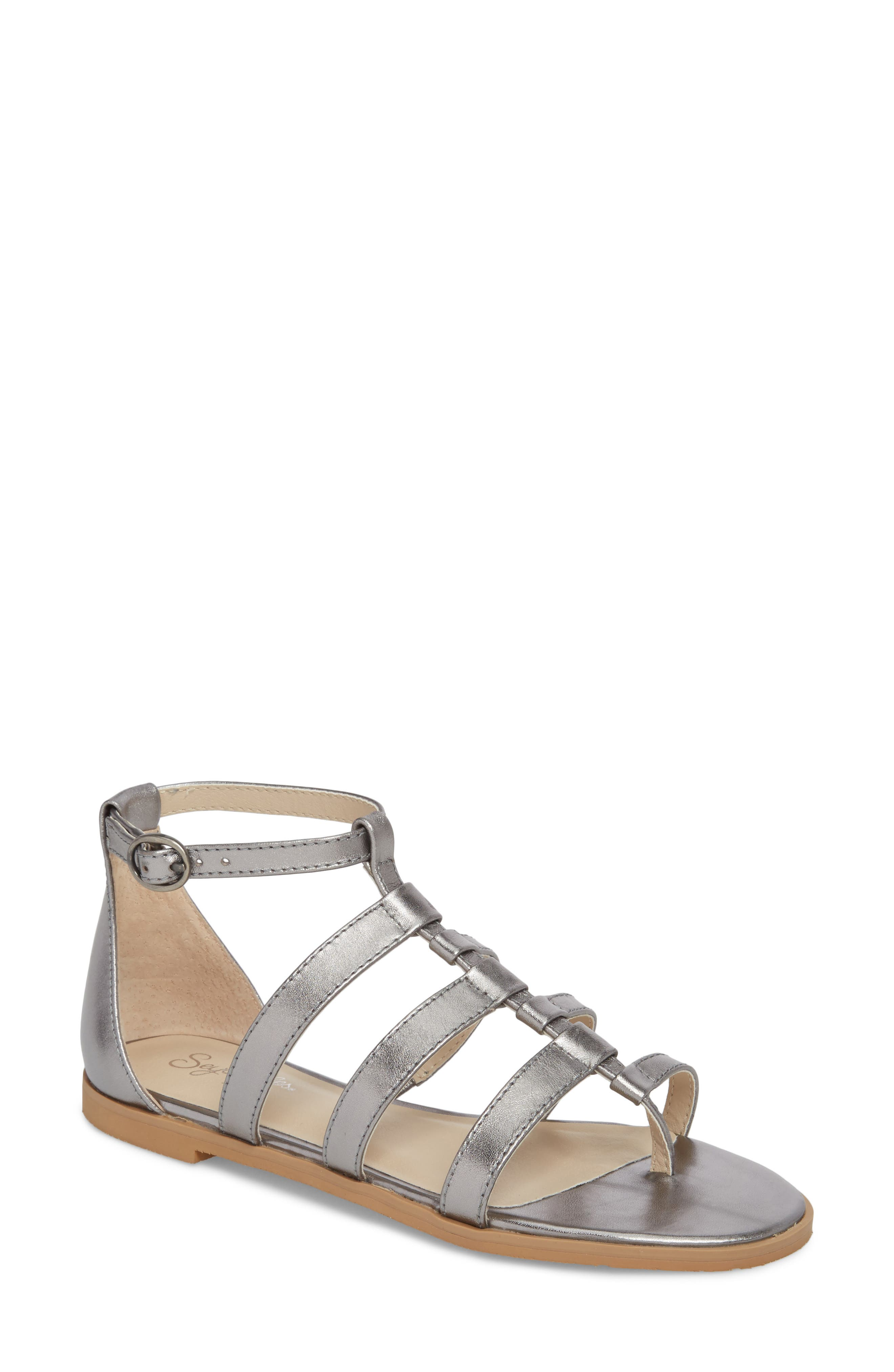 Contribution Sandal,                             Main thumbnail 1, color,                             Pewter Leather