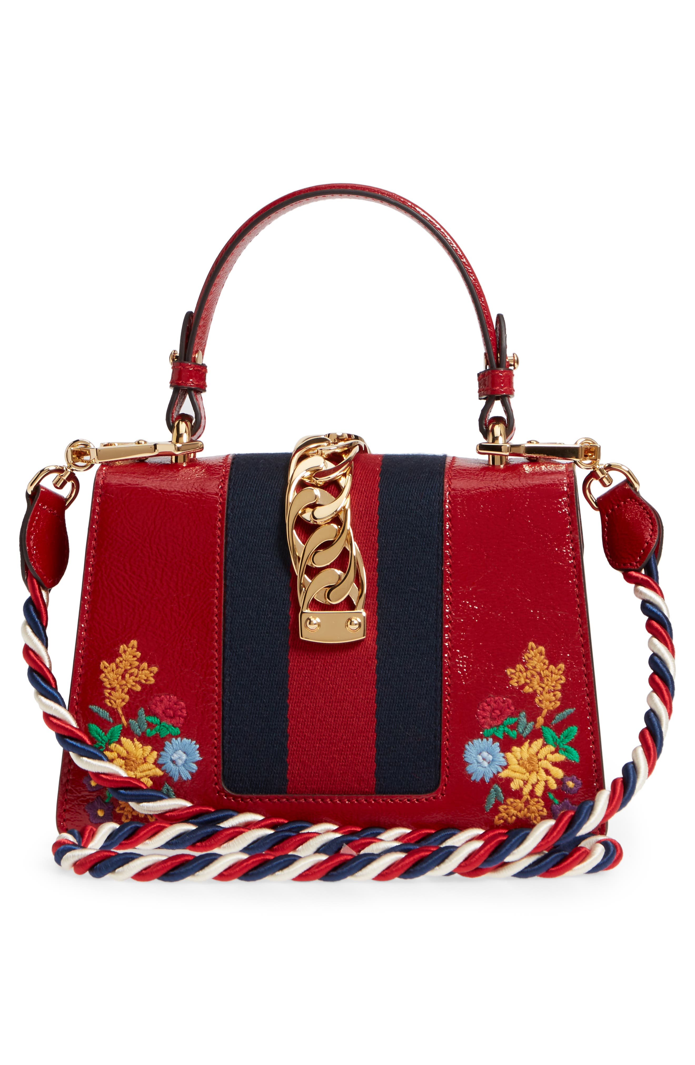 Mini Sylvie Flower Embroidery Leather Shoulder Bag,                             Alternate thumbnail 4, color,                             Hibiscus Red Multi/ Blue