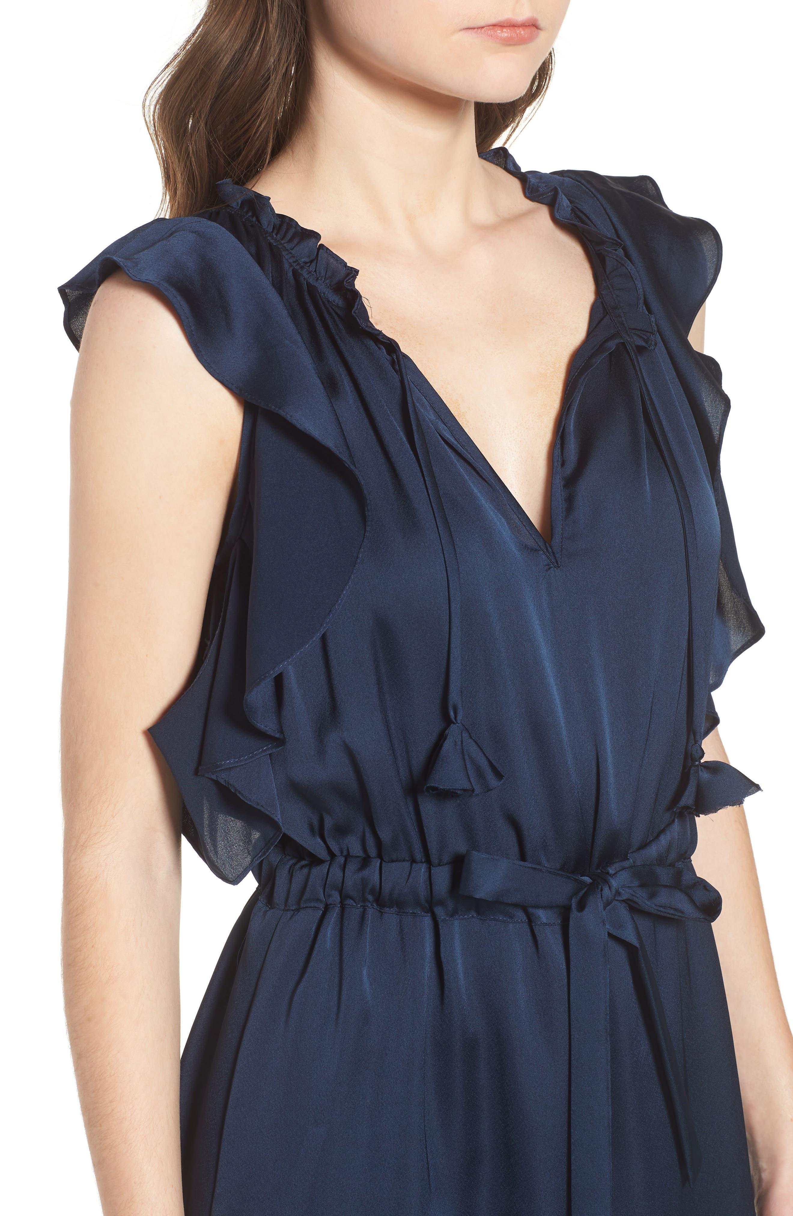 Pillar Satin Dress,                             Alternate thumbnail 4, color,                             Cobalt Blue