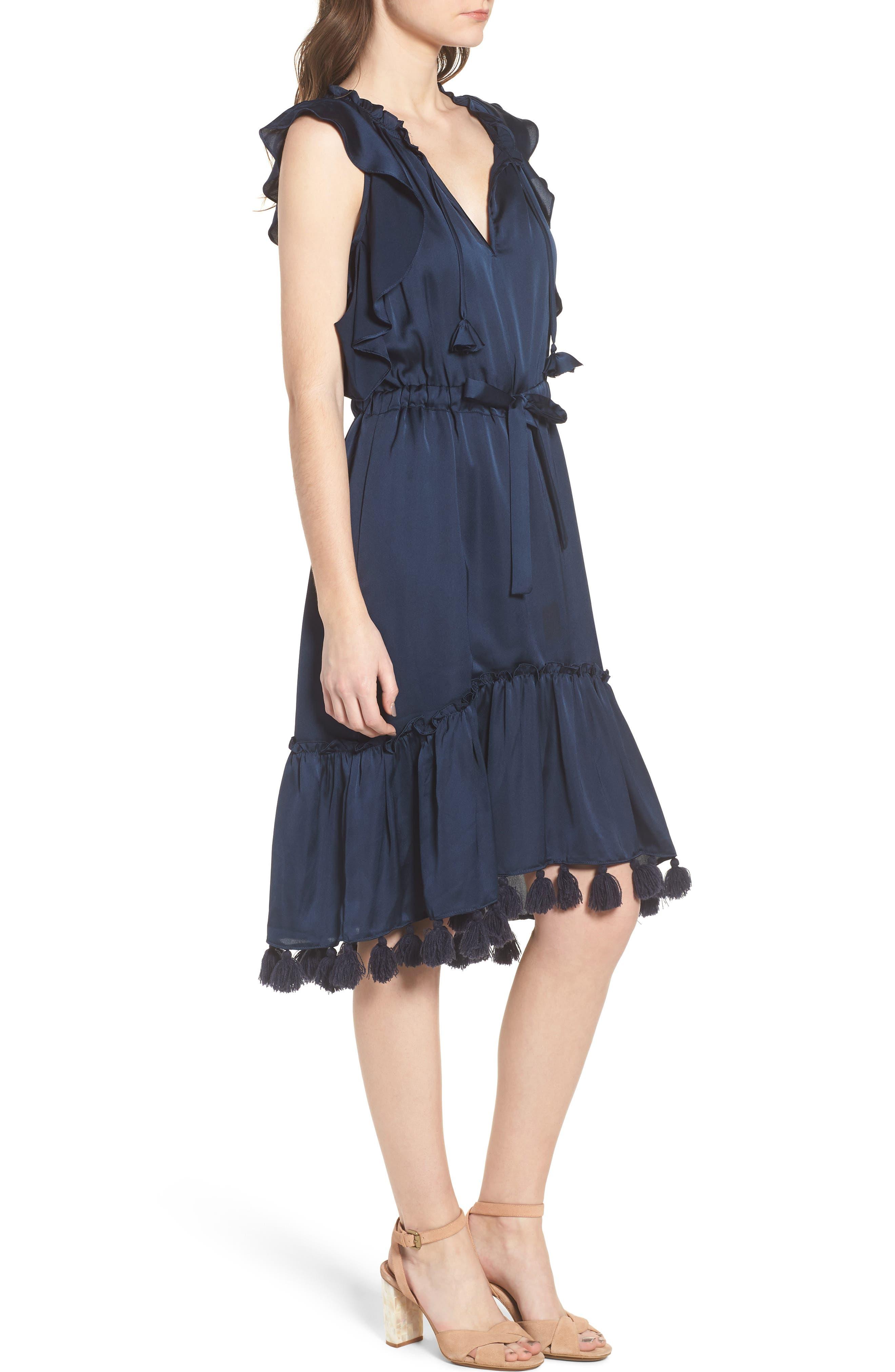 Pillar Satin Dress,                             Alternate thumbnail 3, color,                             Cobalt Blue