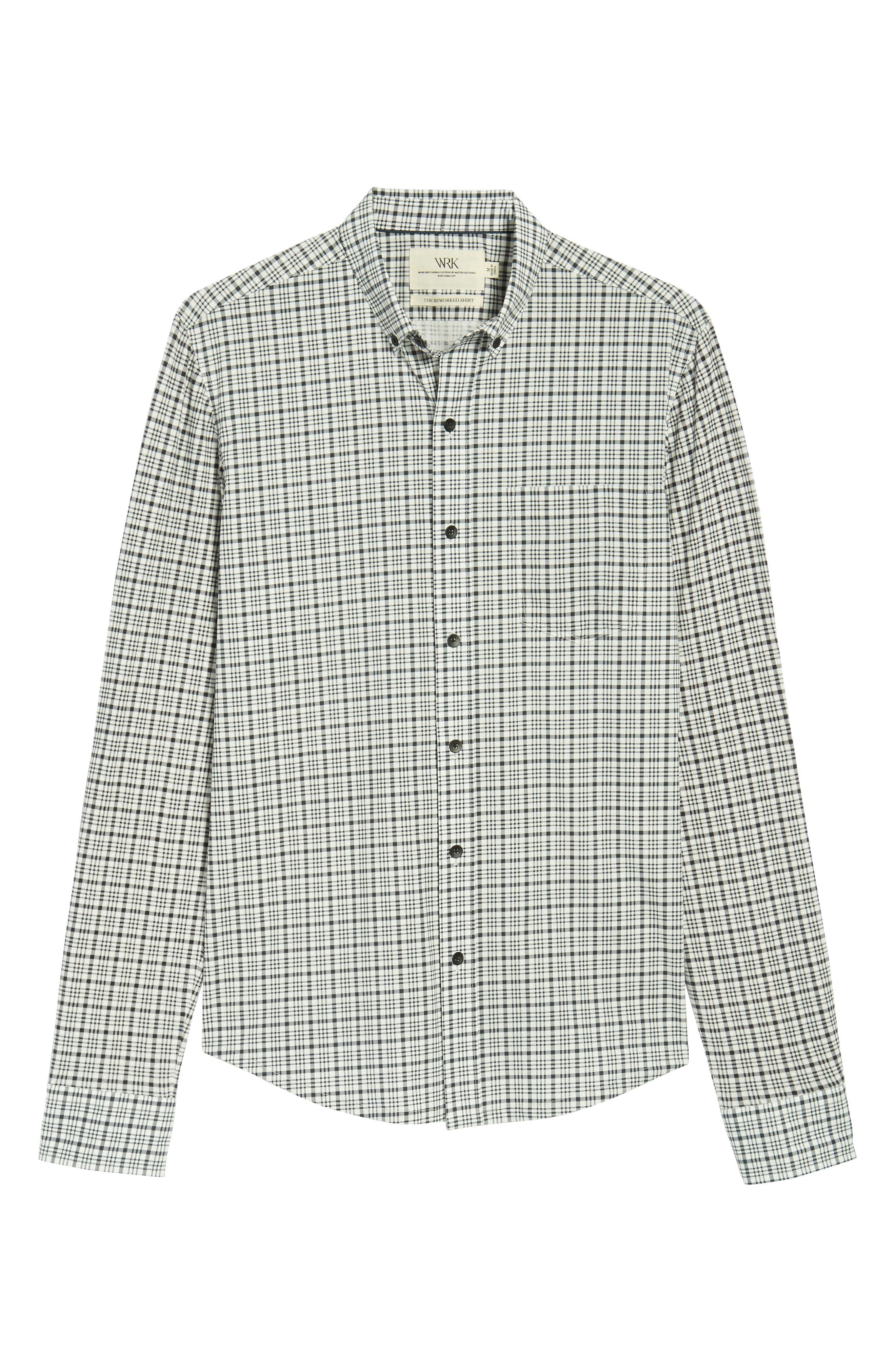 Check Slim Fit Sport Shirt,                             Alternate thumbnail 6, color,                             White/ Black