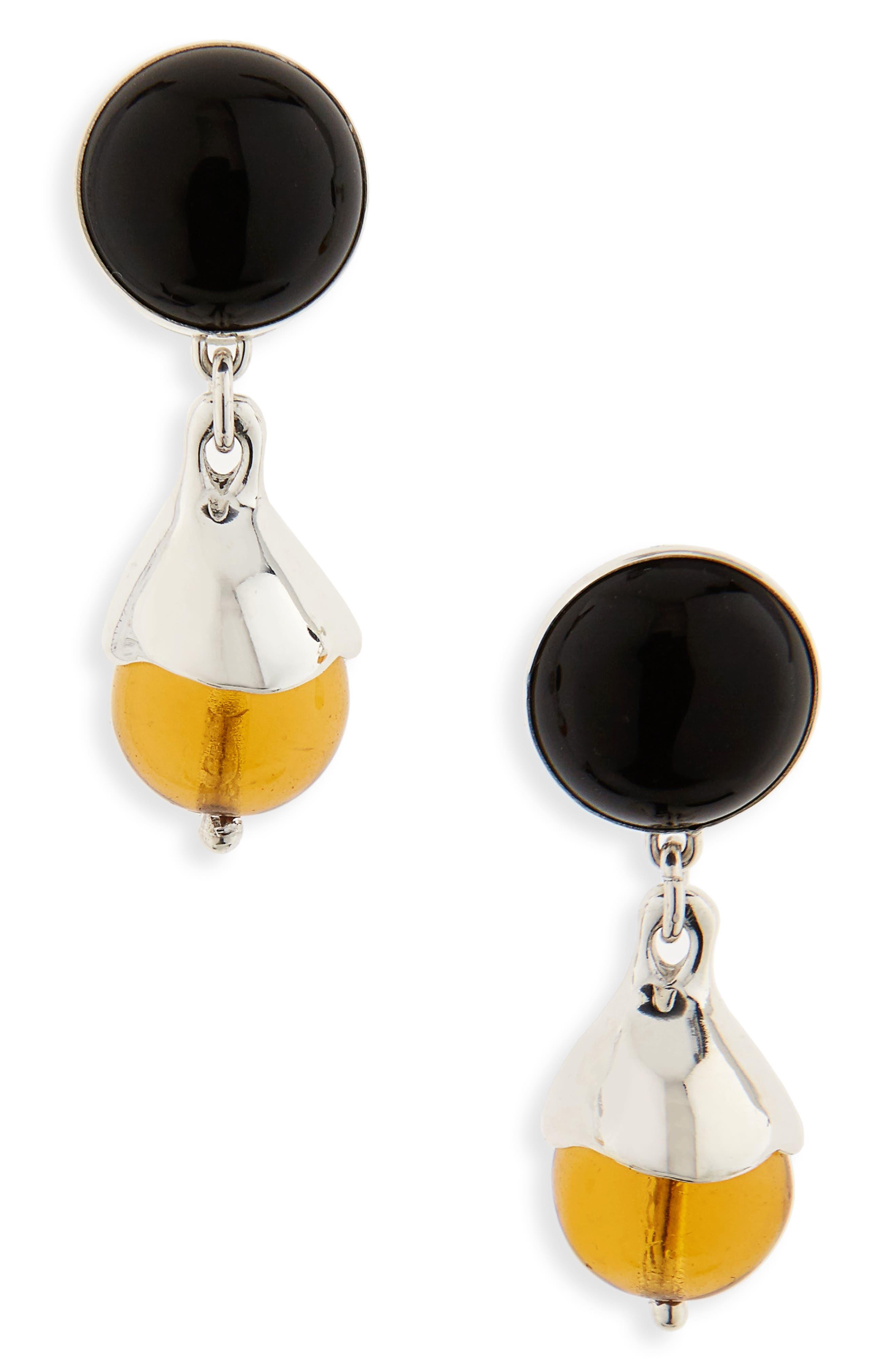 Chapeau Drop Earrings,                         Main,                         color, Sterling Silver