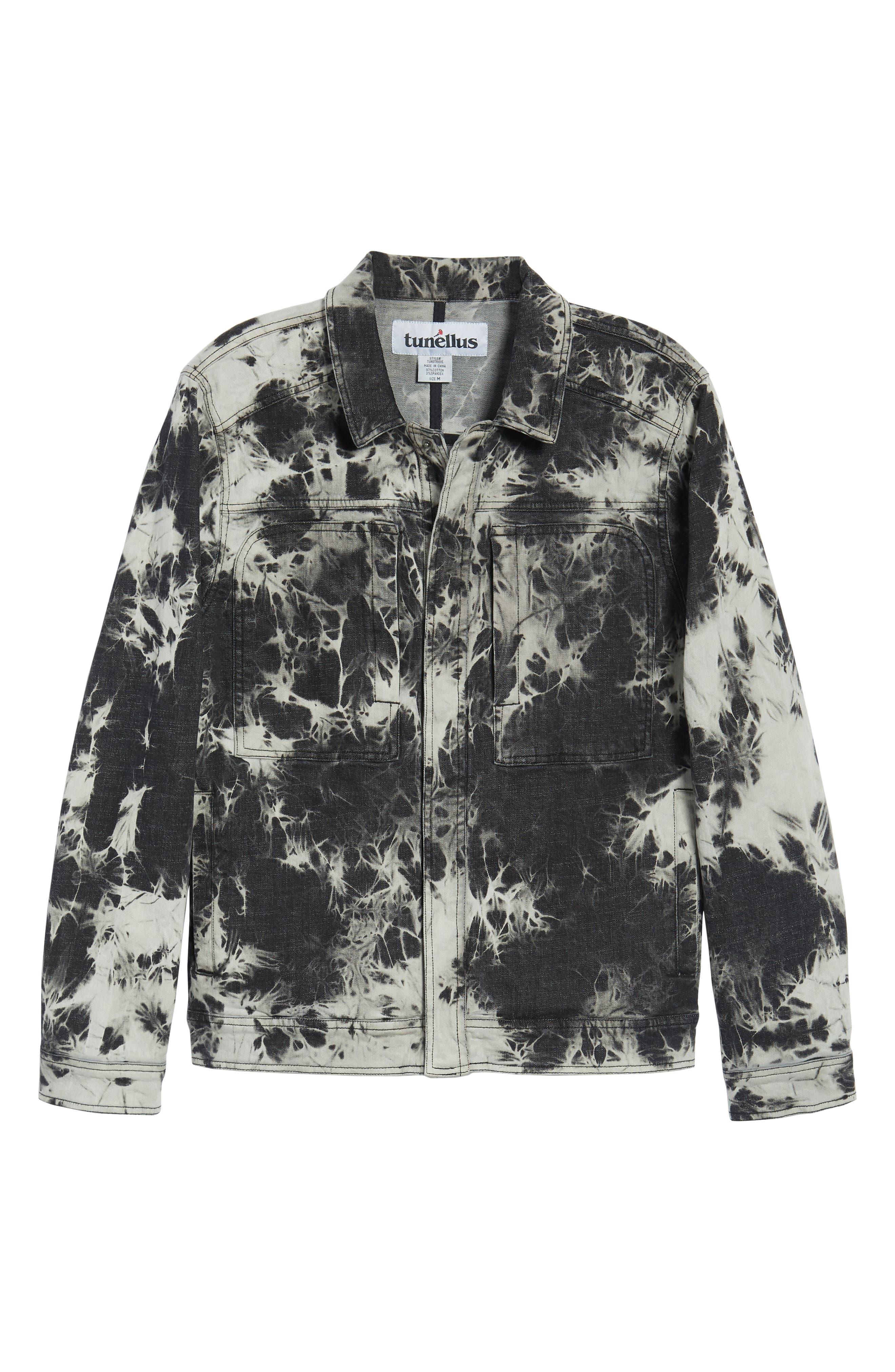 Bleach Tie Dye Denim Jacket,                             Alternate thumbnail 6, color,                             Black