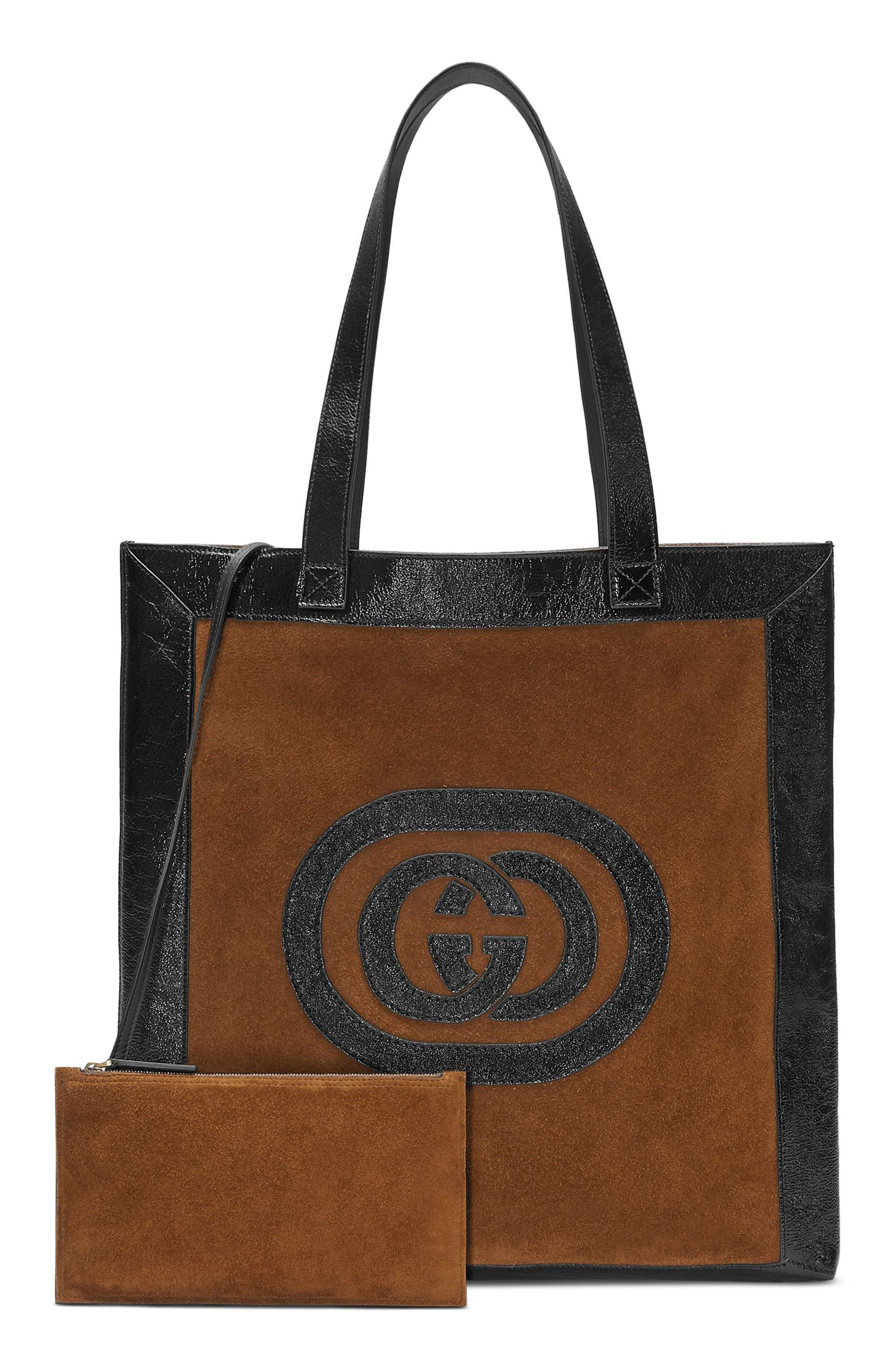 Large GG Calfskin Suede Tote with Zip Pouch,                             Main thumbnail 1, color,                             Brown/ Black