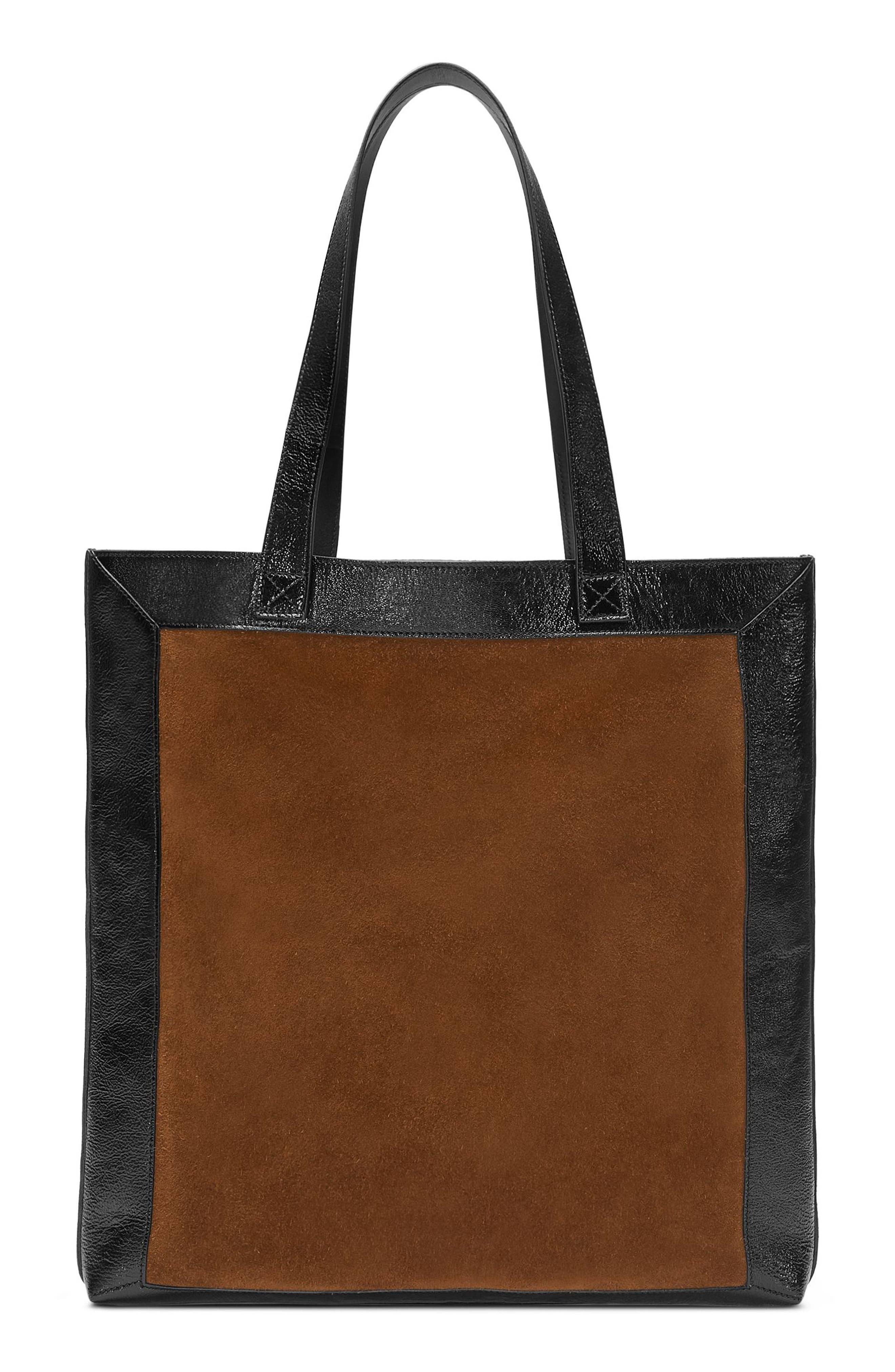 Large GG Calfskin Suede Tote with Zip Pouch,                             Alternate thumbnail 2, color,                             Brown/ Black