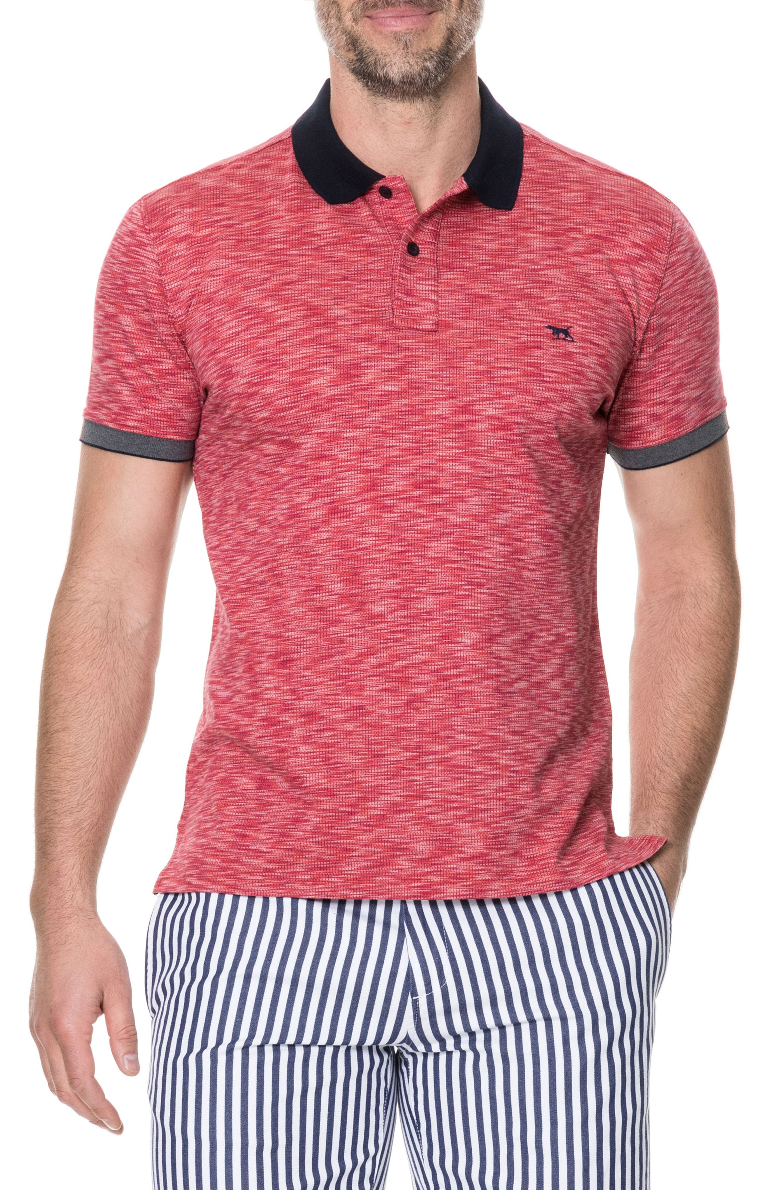 Allman Bay Sports Fit Polo,                         Main,                         color, Flame