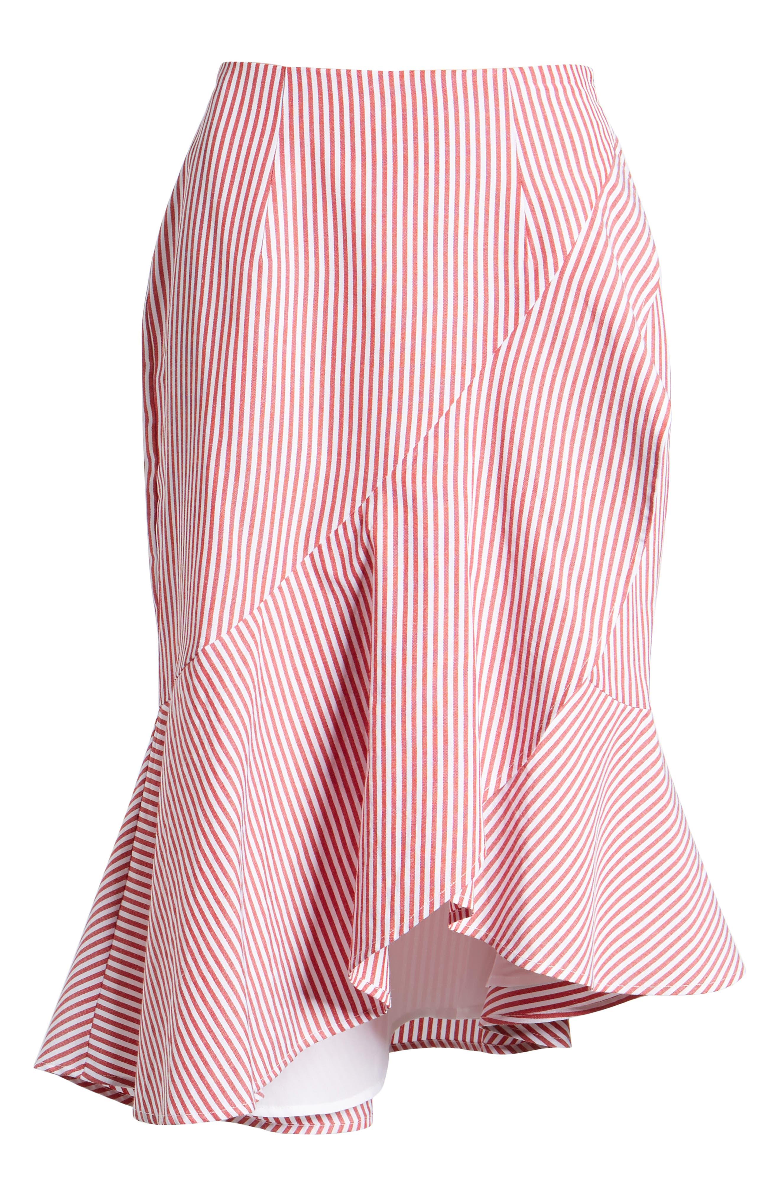 Naples Ruffle Skirt,                             Alternate thumbnail 6, color,                             Red Stripe