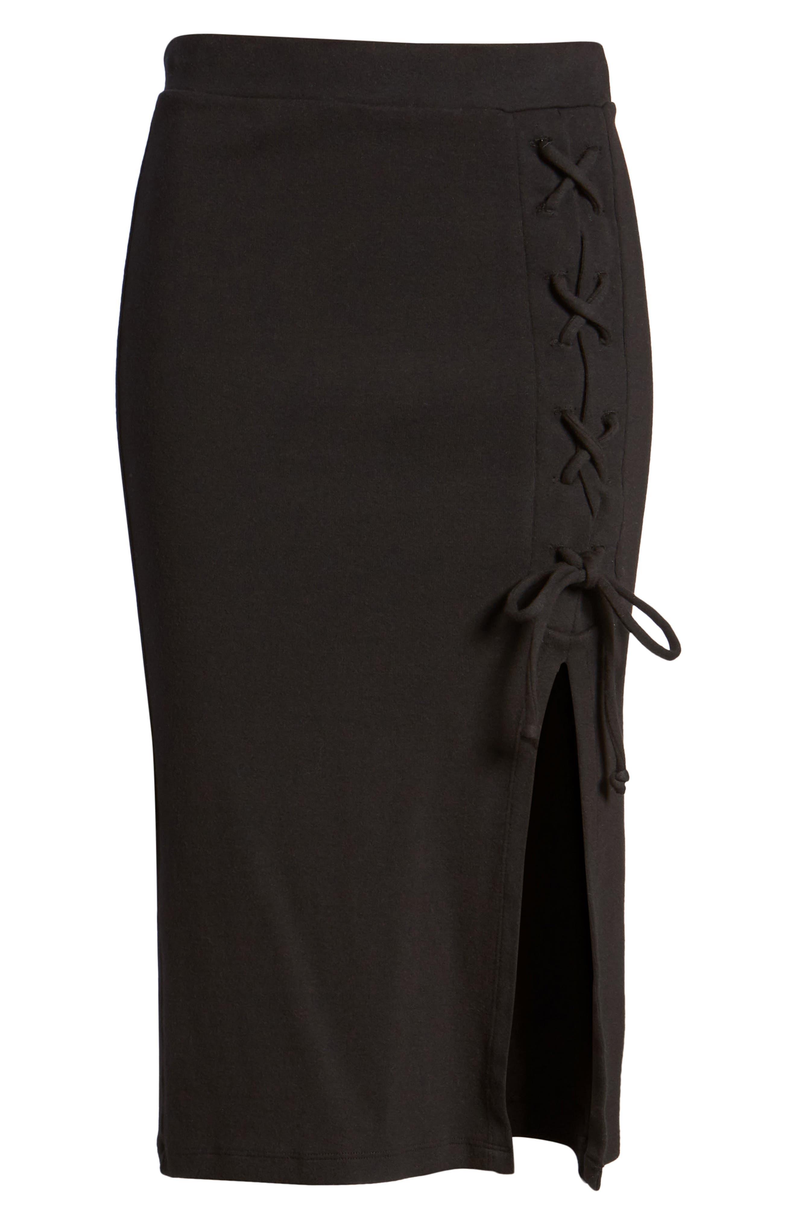 Rib Knit Lace-Up Skirt,                             Alternate thumbnail 6, color,                             Black