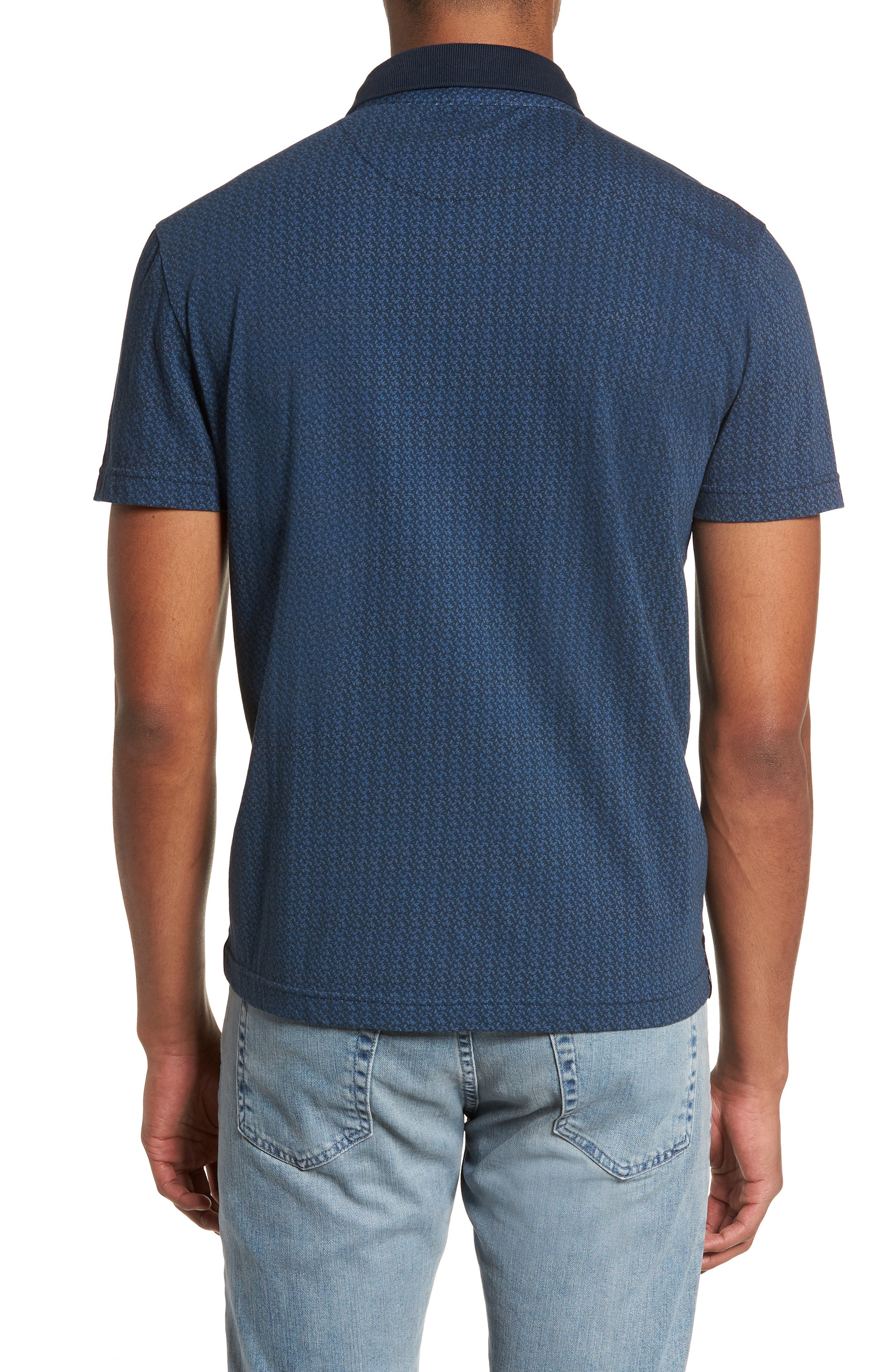 Reworked Slim Fit Leaf Print Polo,                             Alternate thumbnail 2, color,                             Navy
