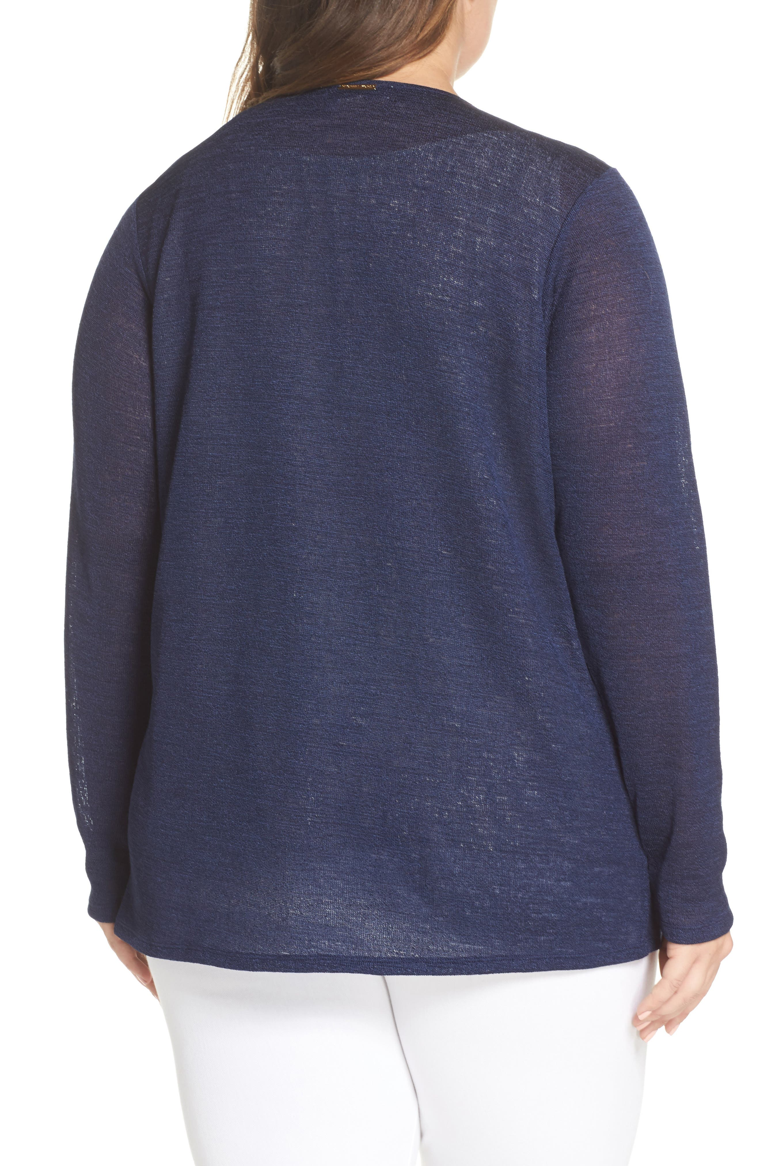 Draped Front Cardigan,                             Alternate thumbnail 2, color,                             True Navy