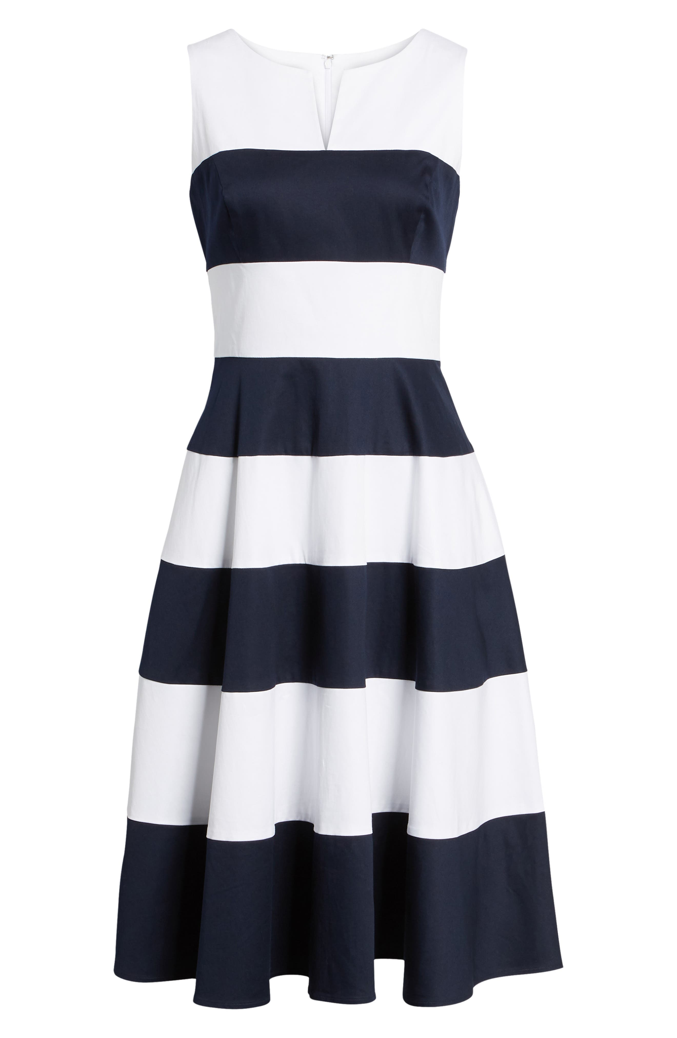 Alternate Image 6  - 1901 Stripe Fit & Flare Dress