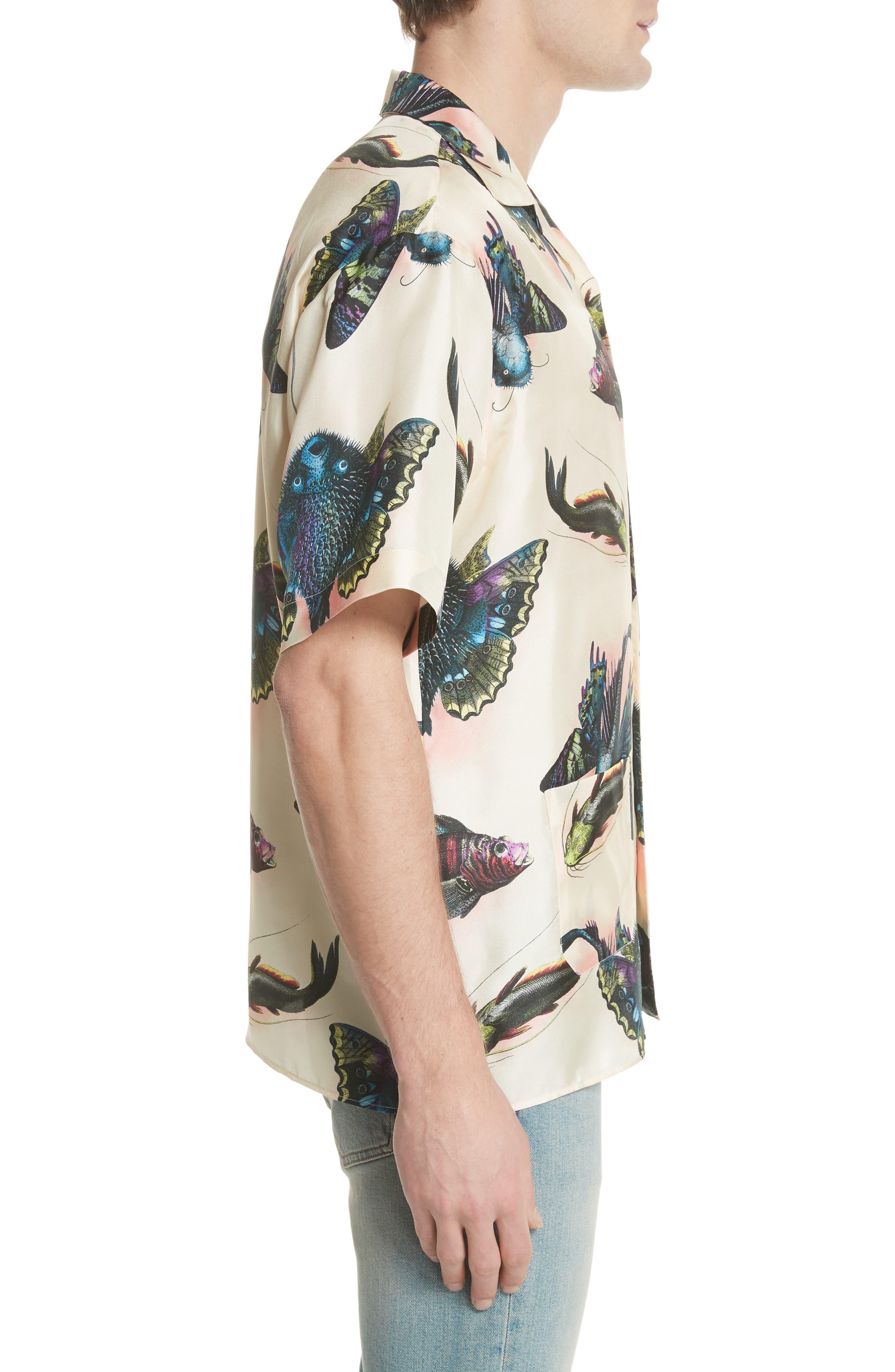 Flying Fish Silk Bowling Shirt,                             Alternate thumbnail 4, color,                             9273 Ivory