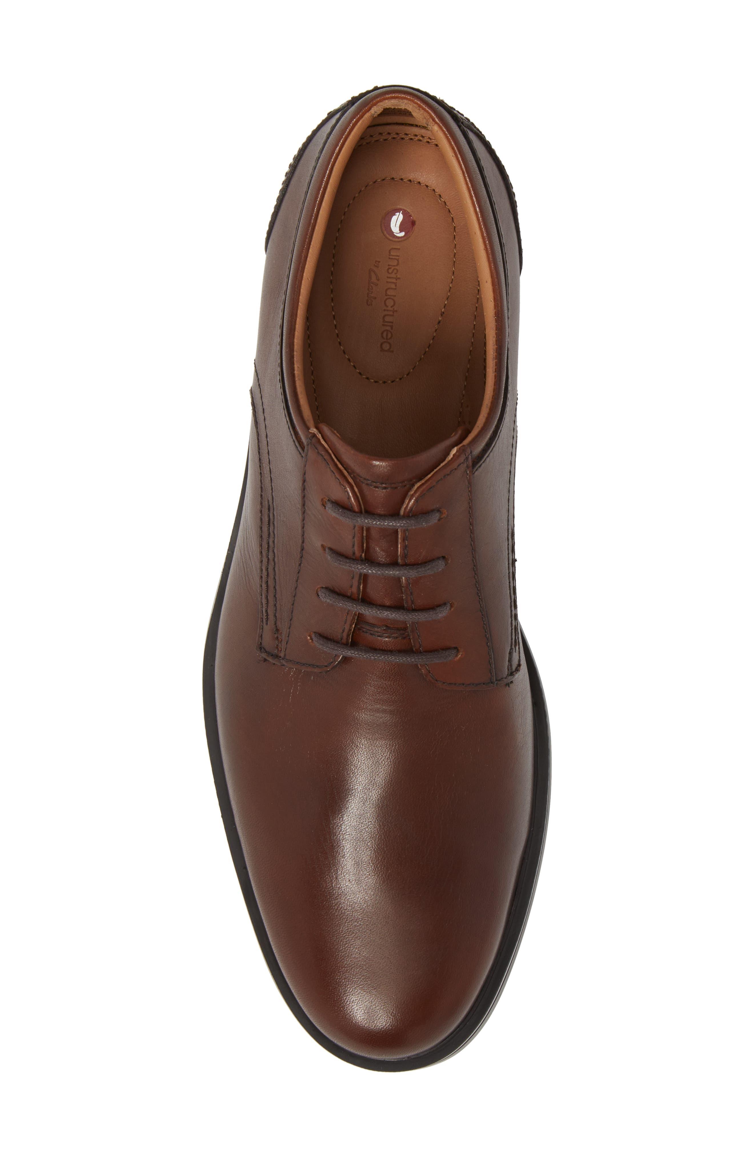 Unaldric Plain Toe Derby,                             Alternate thumbnail 5, color,                             Dark Tan Leather