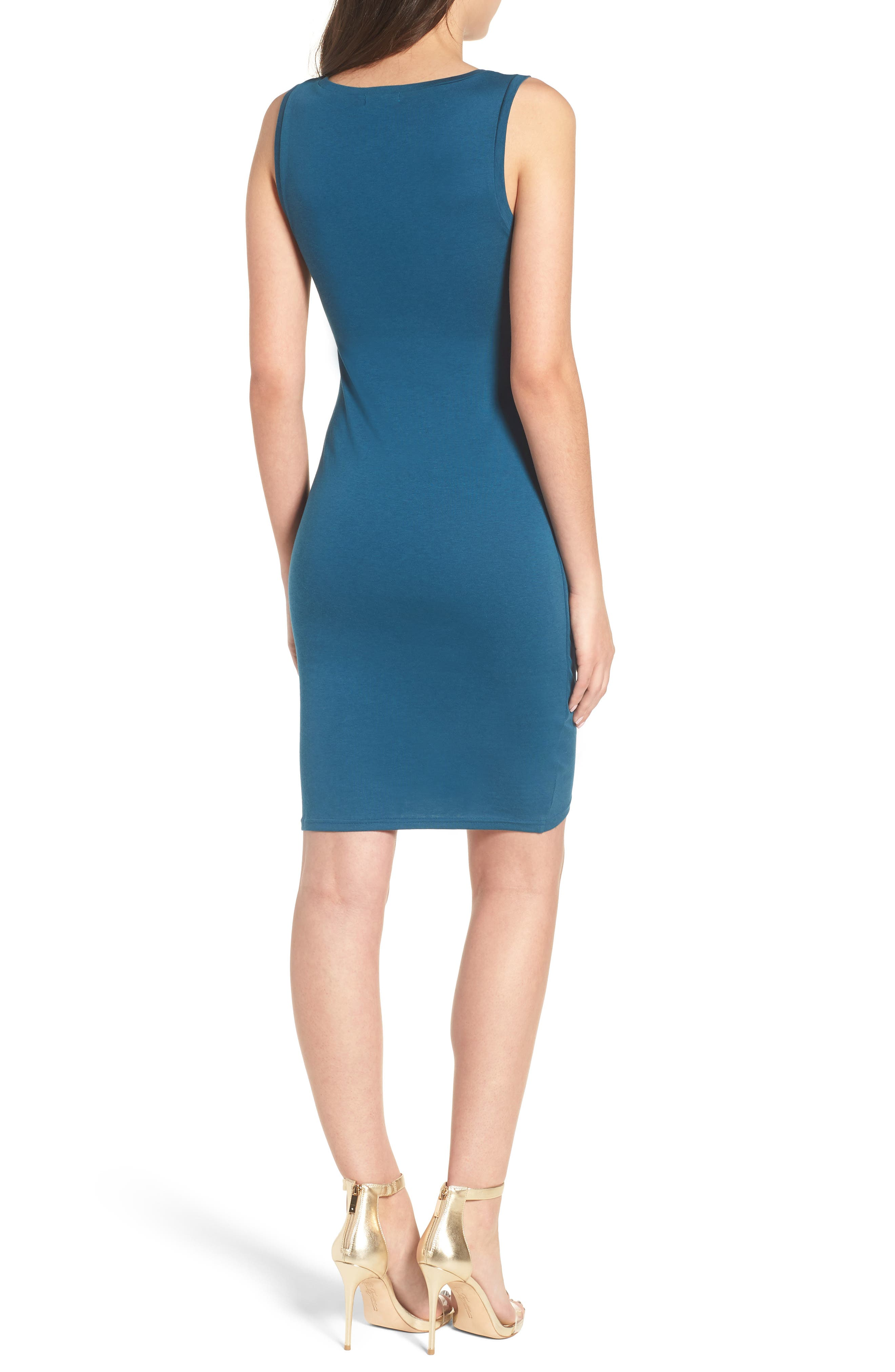 Ruched Body-Con Tank Dress,                             Alternate thumbnail 2, color,                             Teal Seagate