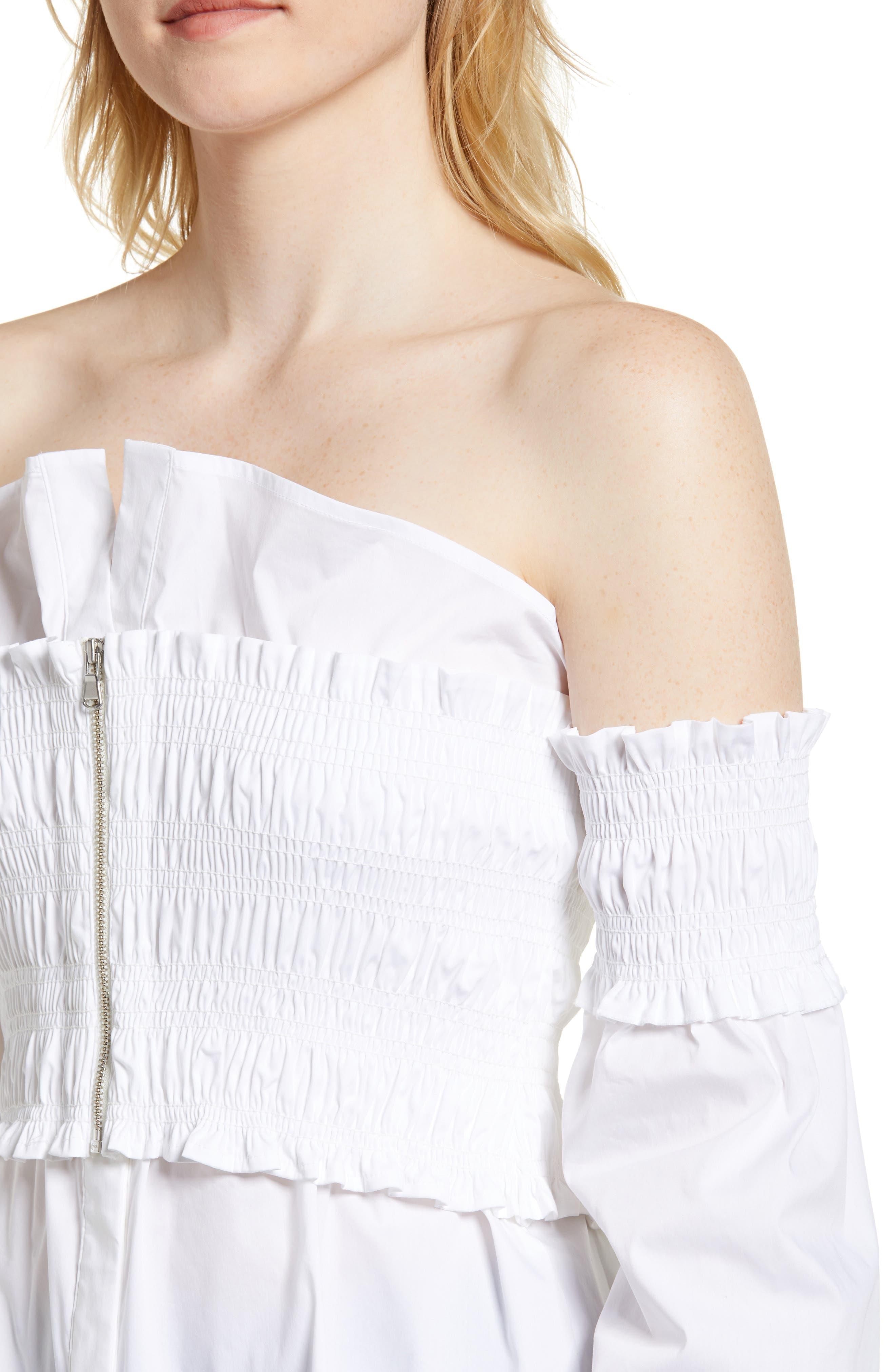 Smocked Corset Shirt,                             Alternate thumbnail 4, color,                             White