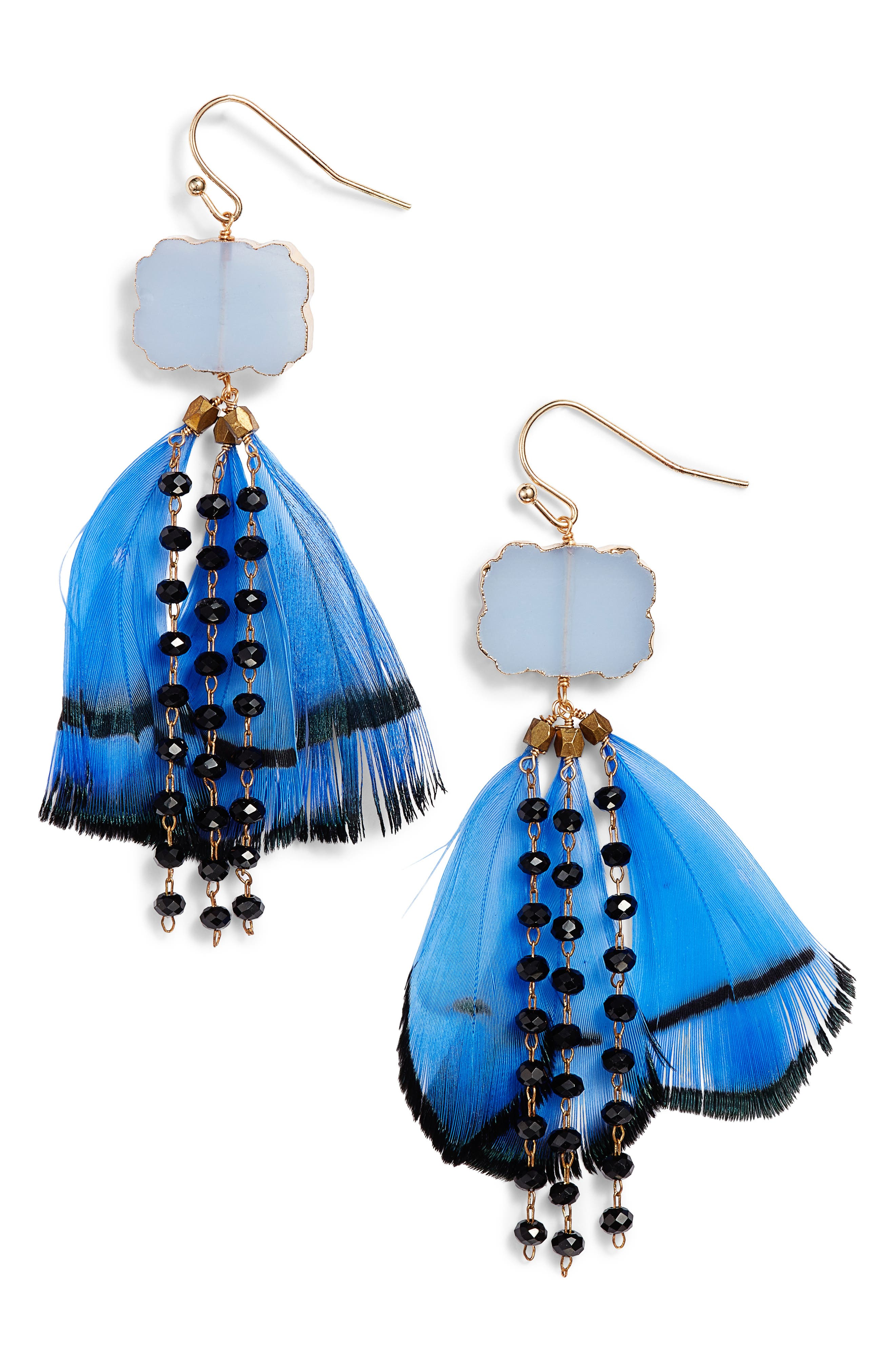 Feather & Bead Drop Earrings,                             Main thumbnail 1, color,                             Blue