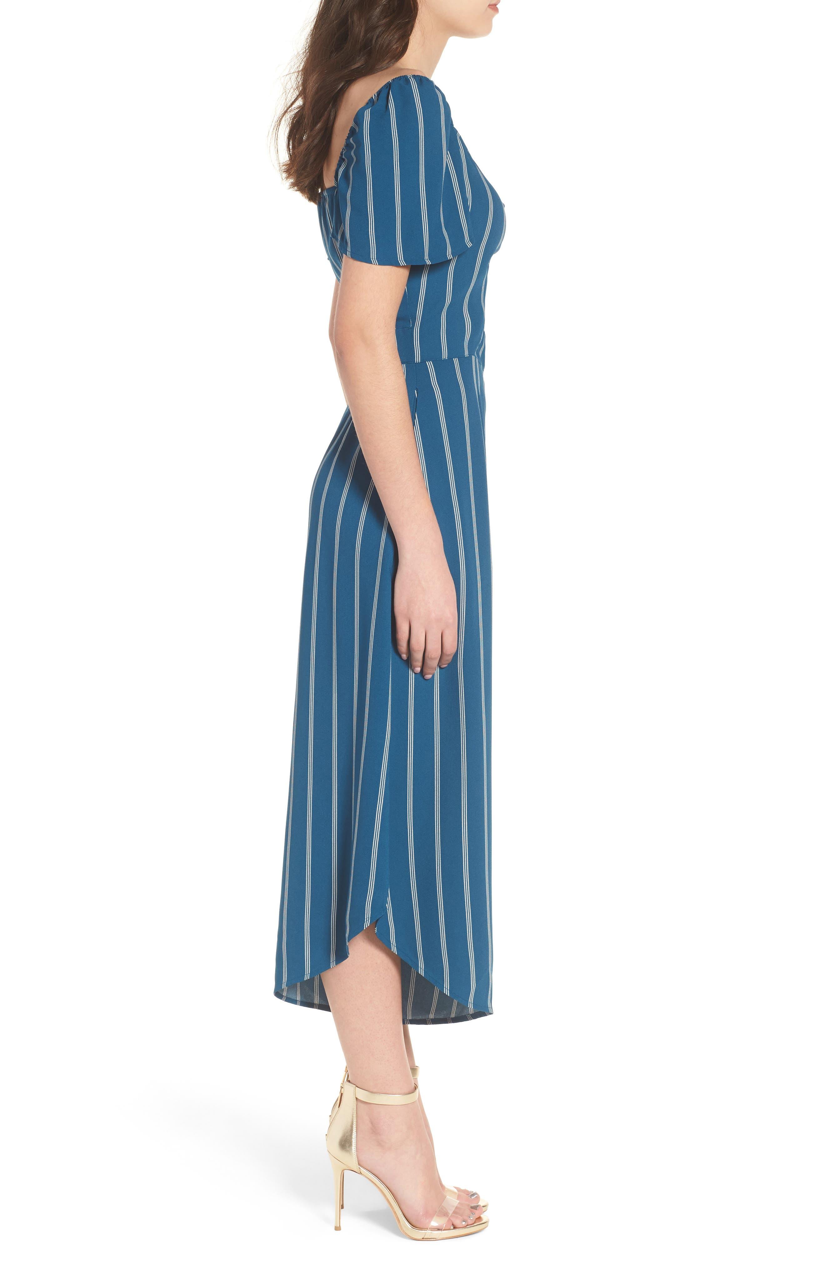 Cutout Culotte Jumpsuit,                             Alternate thumbnail 3, color,                             Teal Seagate Pinstripe
